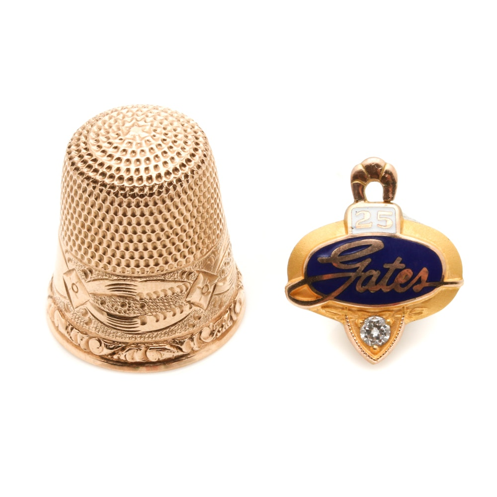 Assortment of 10K Yellow Gold Diamond and Enamel Service Charm and Thimble