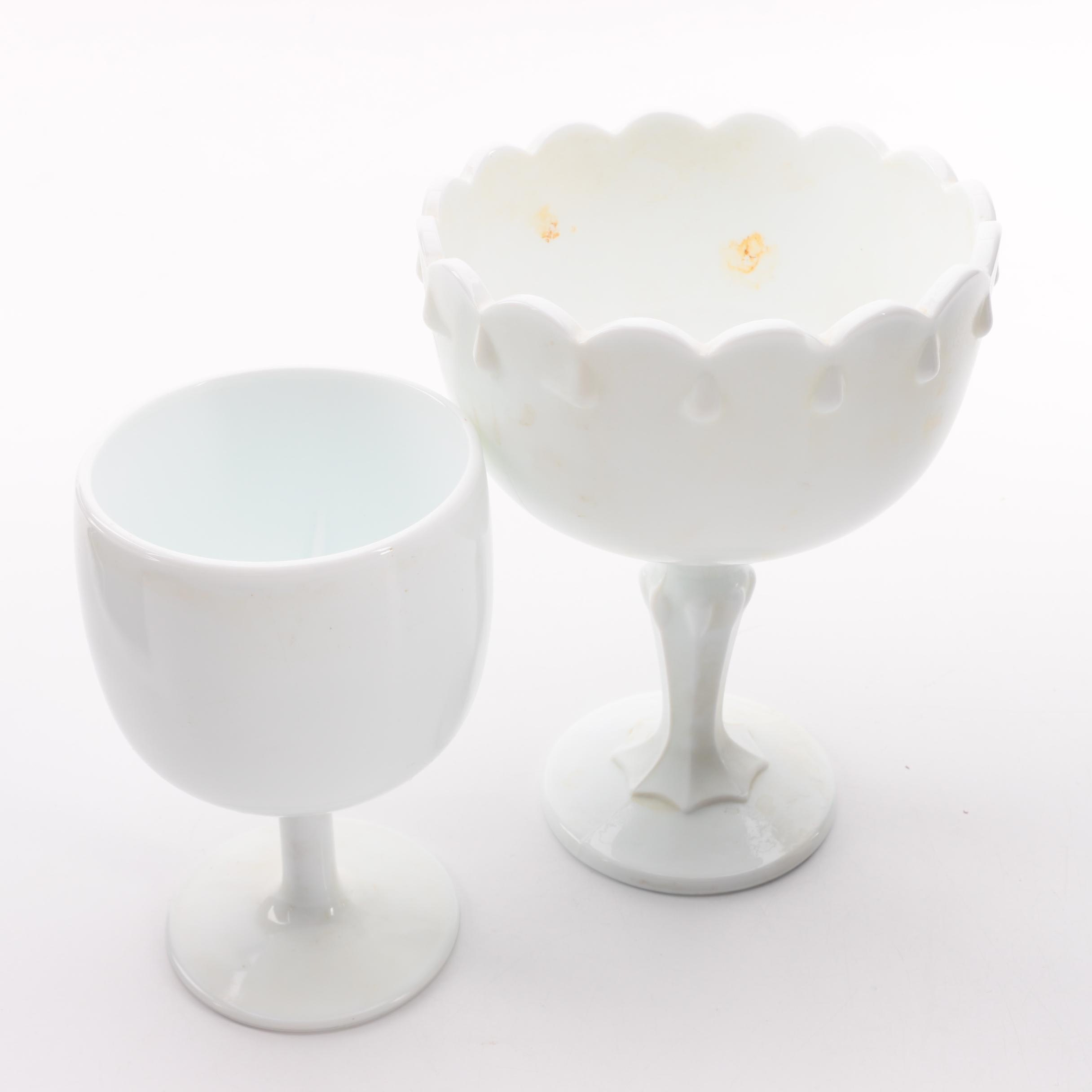 Vintage Milk Glass Compote and Goblet