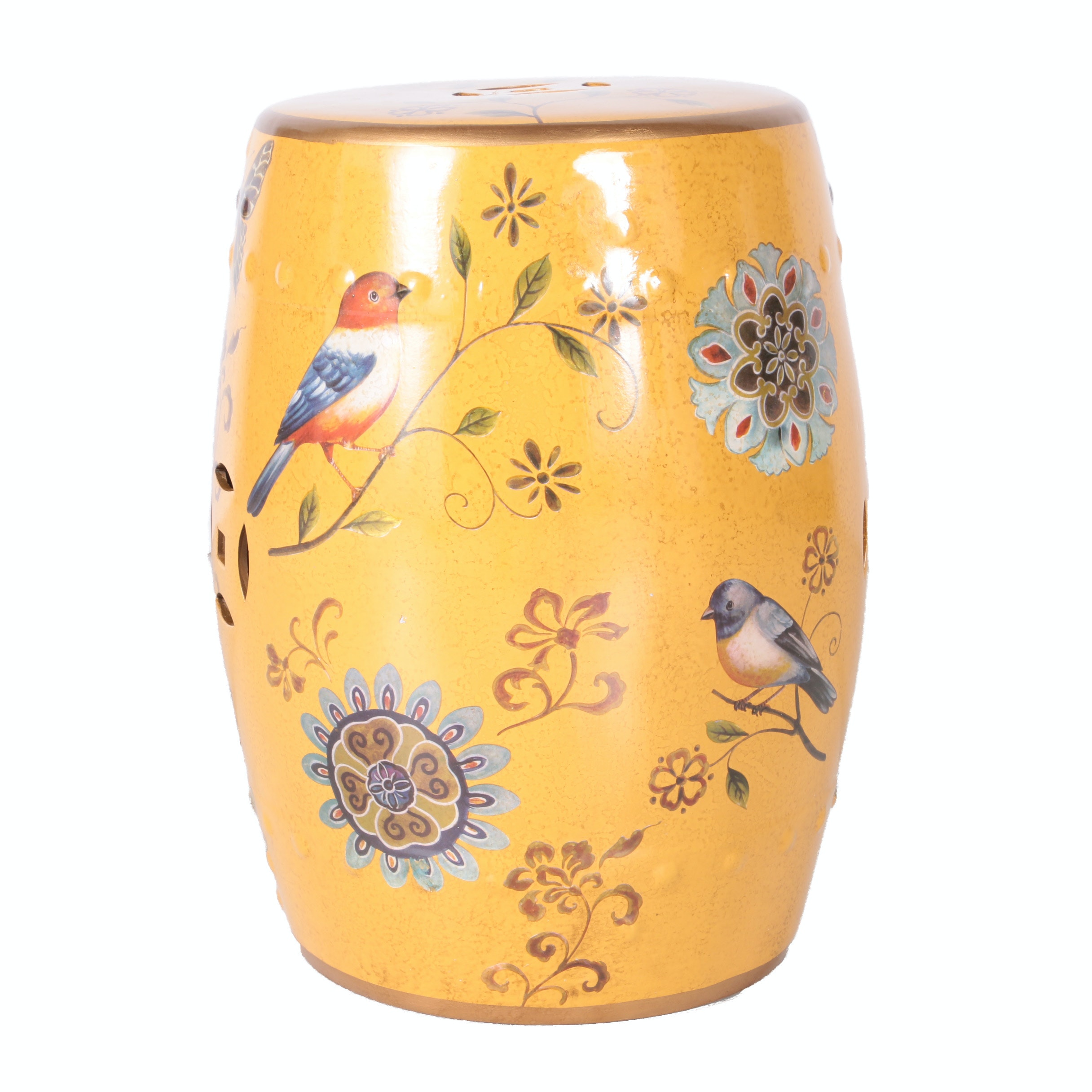 Yellow Ceramic Garden Stool