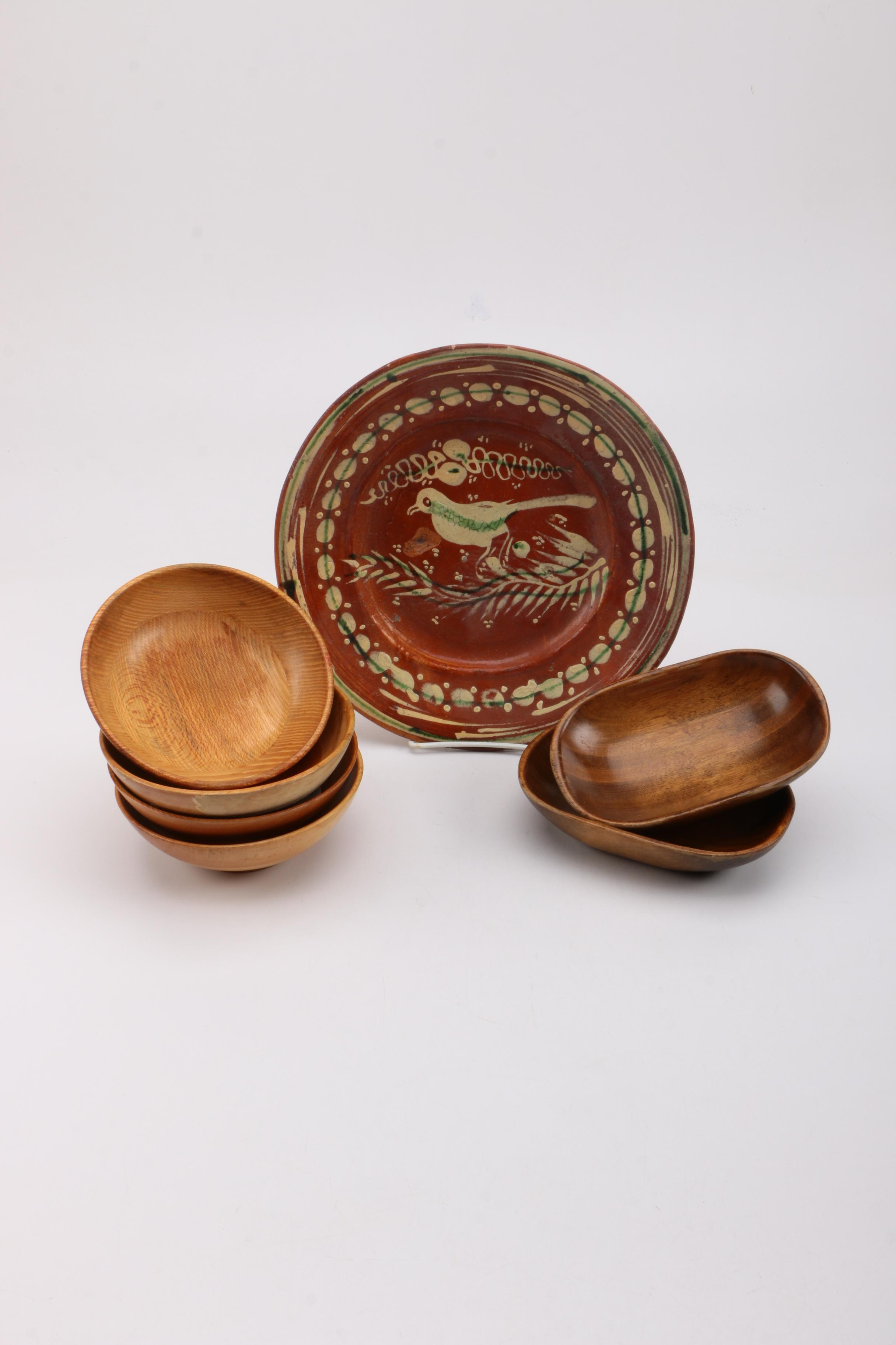 Hand-Painted Semi-Antique Redware Plate and Wooden Dishes