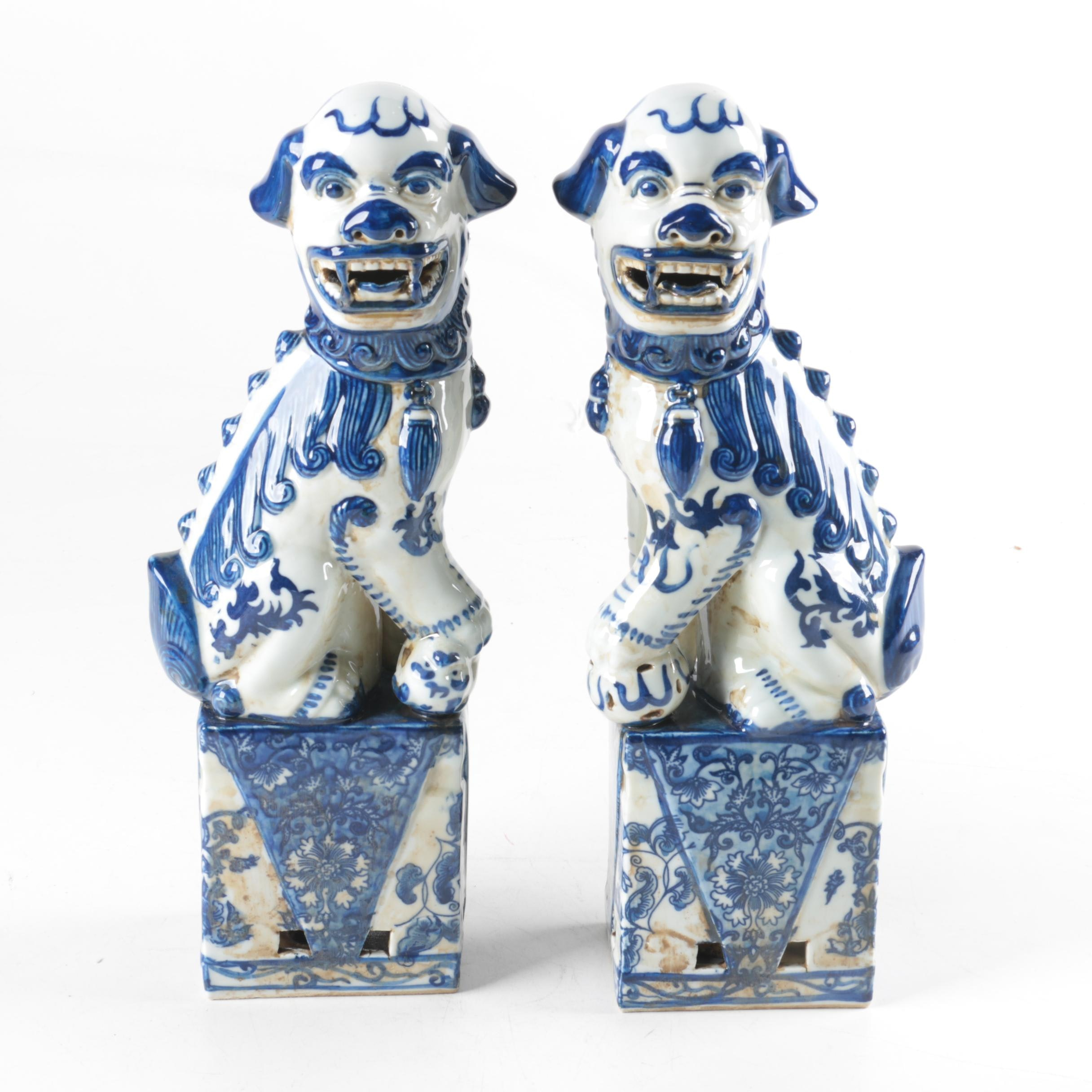 Blue and White Ceramic Guardian Lion Censers