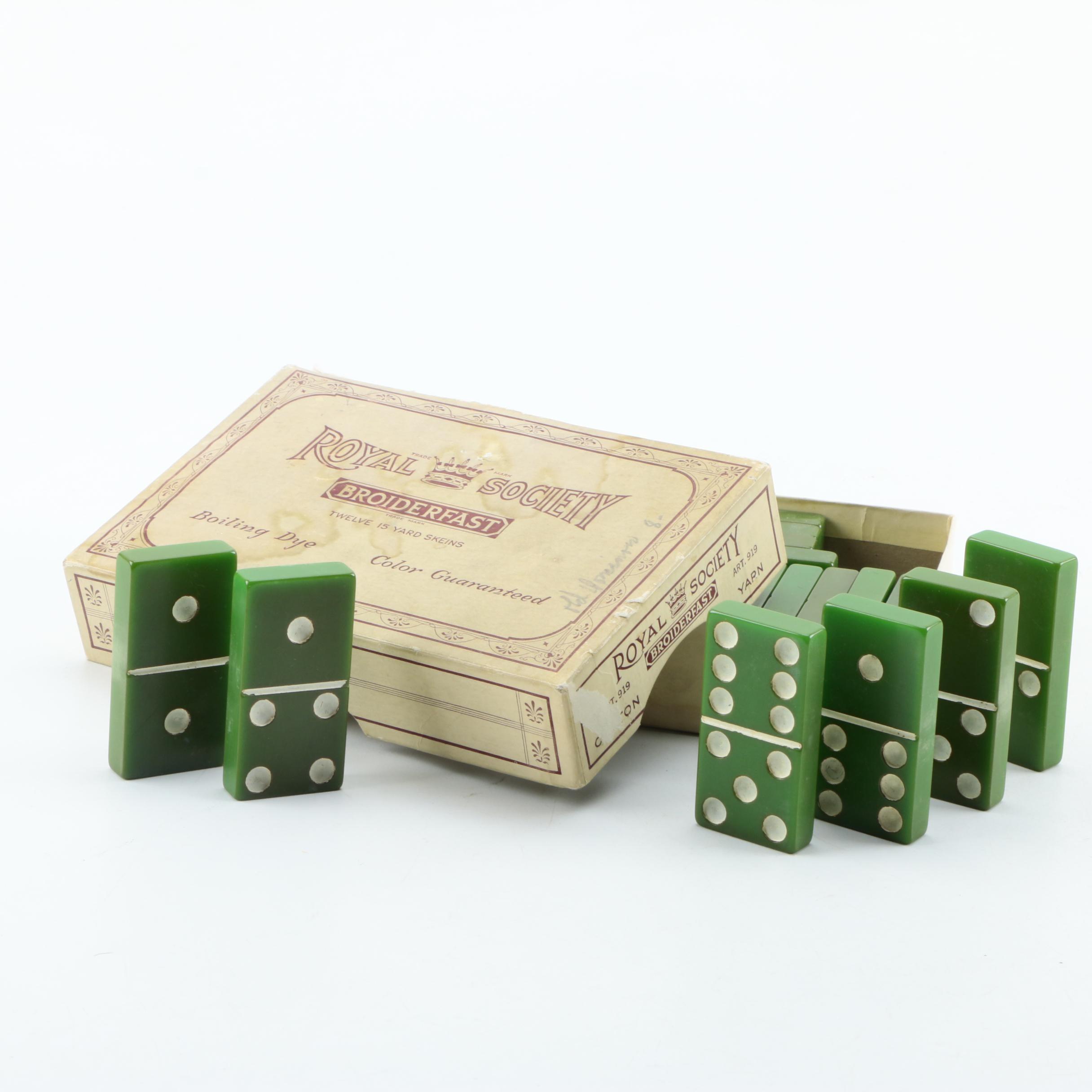 Vintage Green Catalin Bakelite Dominoes