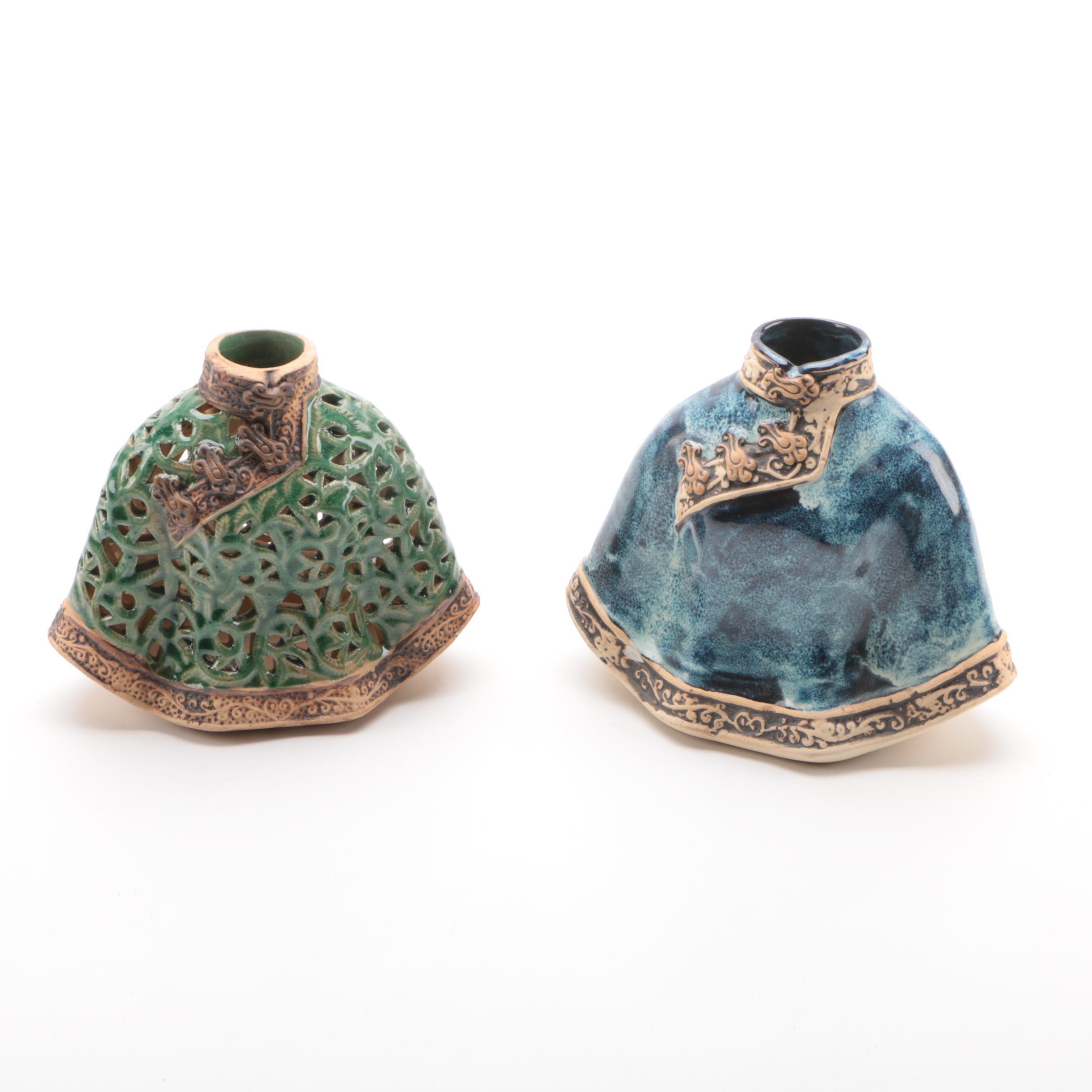 Pair of Cape Shaped Stoneware Vases