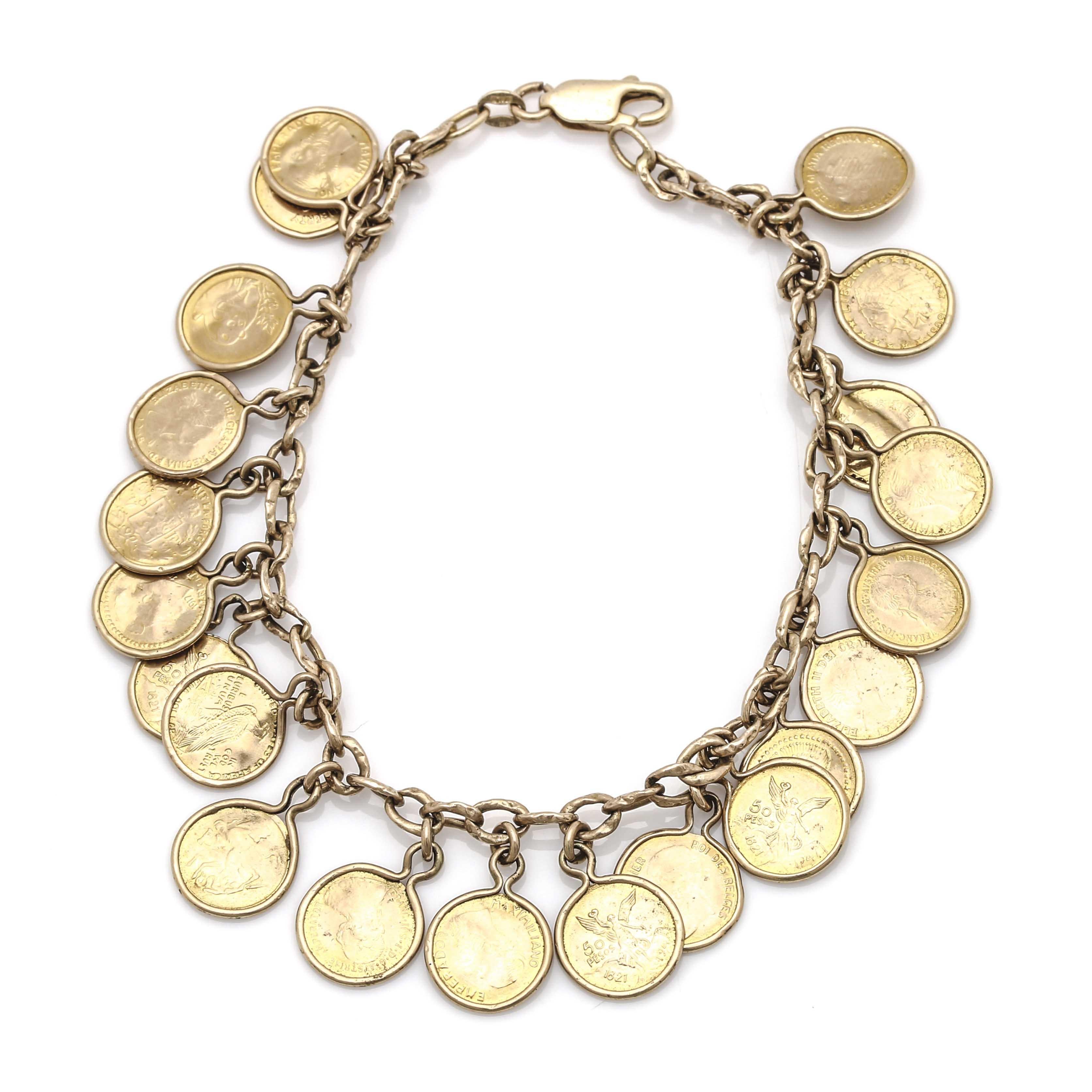 14K Yellow Gold Replica Coin Bracelet