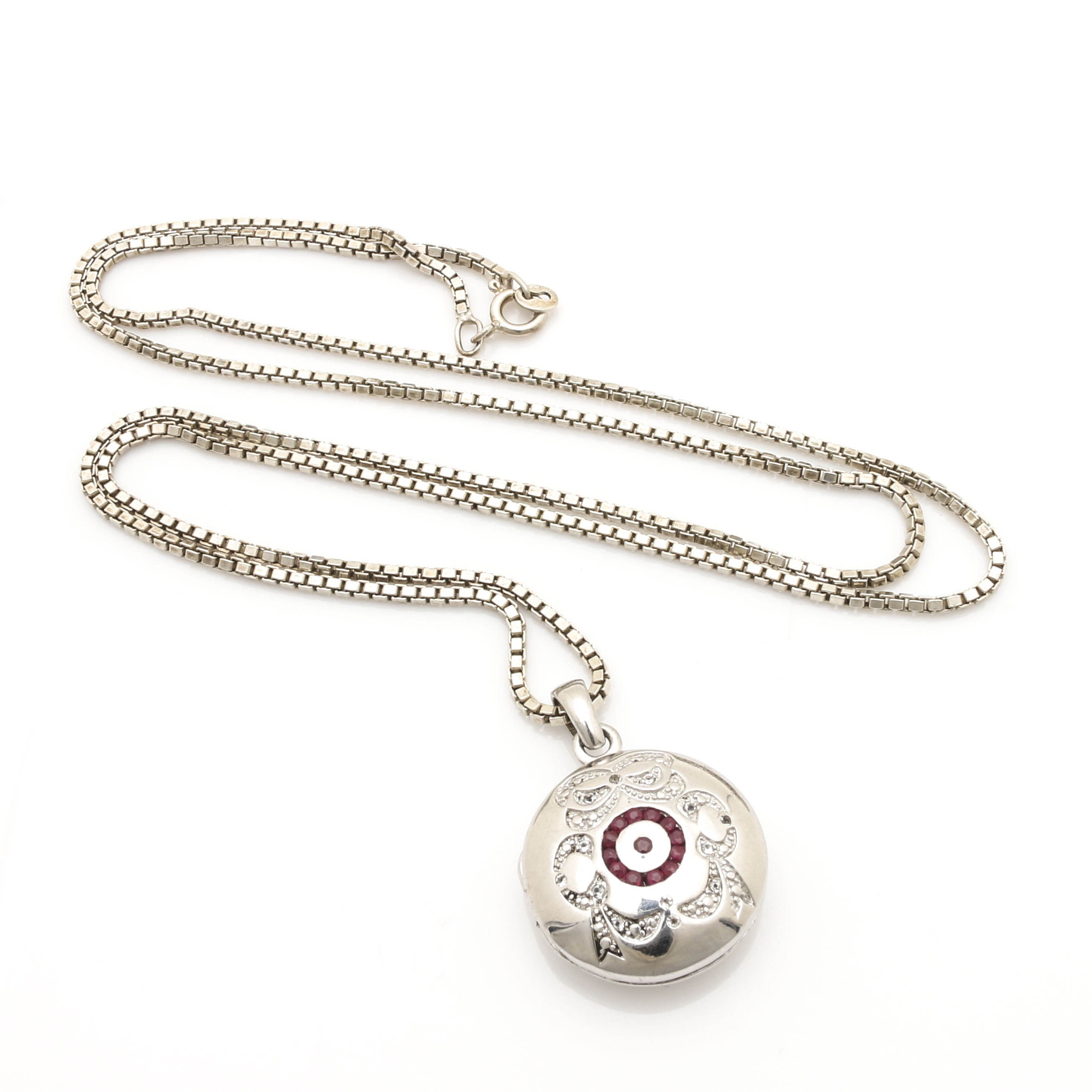 Sterling Silver Ruby and White Topaz Locket Pendant Necklace