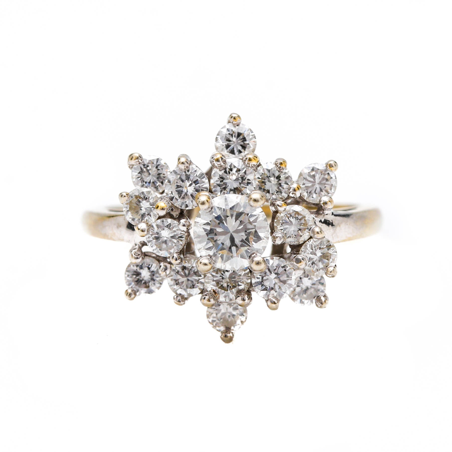 14K Two Tone Gold 1.00 CTW Diamond Cluster Ring