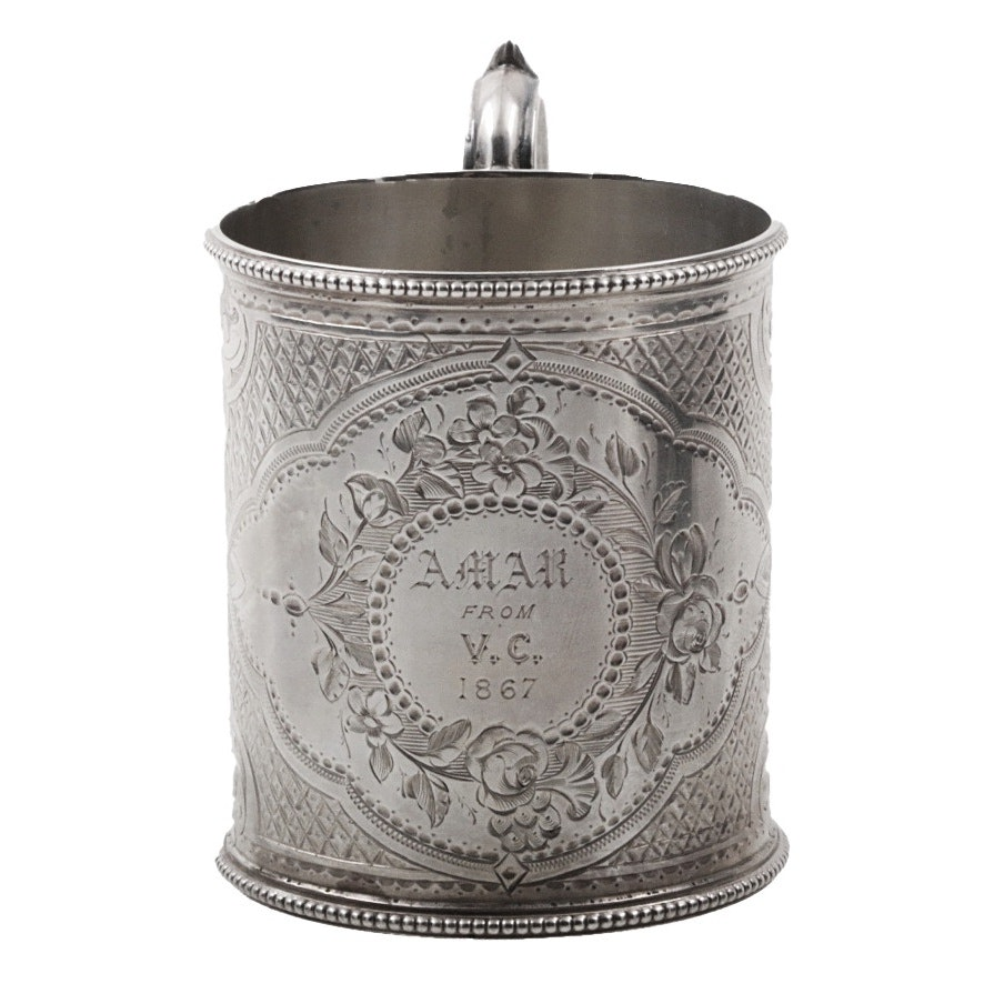 Dated 1867 Martin, Hall & Co. English Sterling Silver Inscribed and Engraved Cup