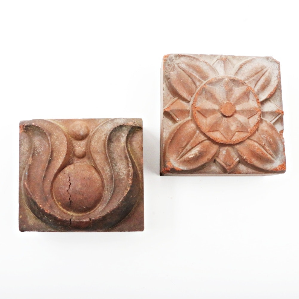 Pair of Vintage Molded Clay Architectural Blocks