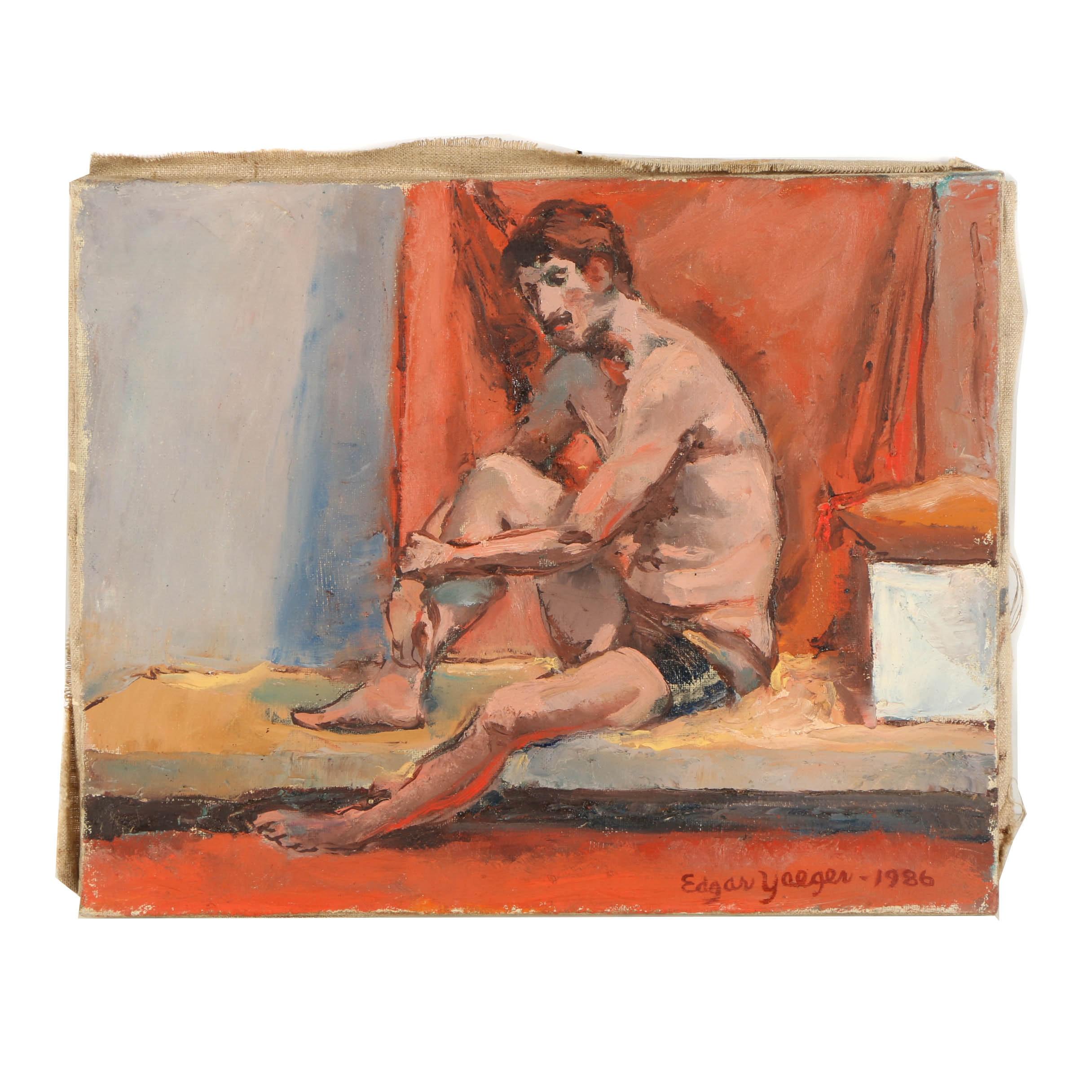 Edgar Yaeger Oil Painting on Canvas Portrait of Male Figure