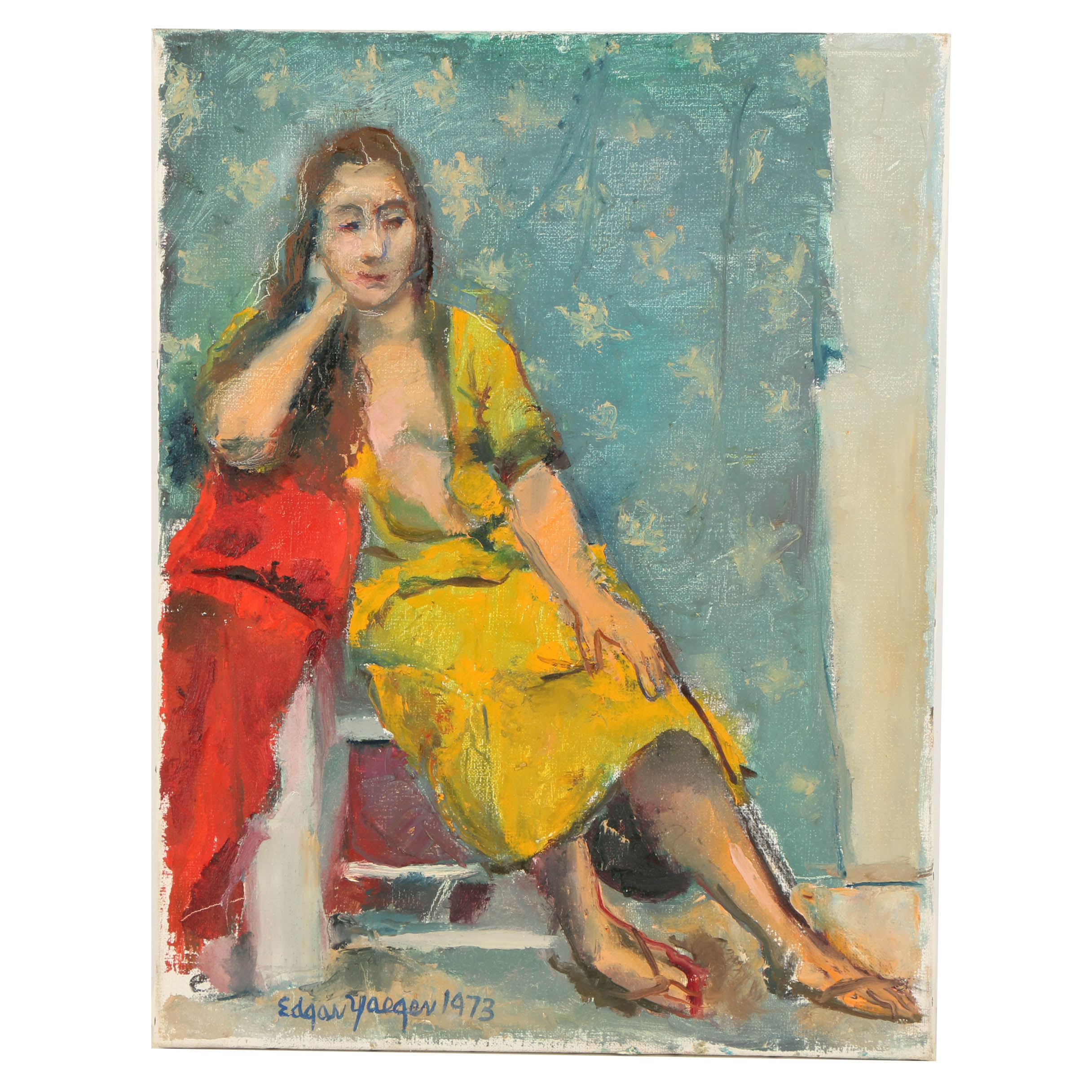 Edgar Yaeger Oil Painting on Canvas of a Woman in a Yellow Dress