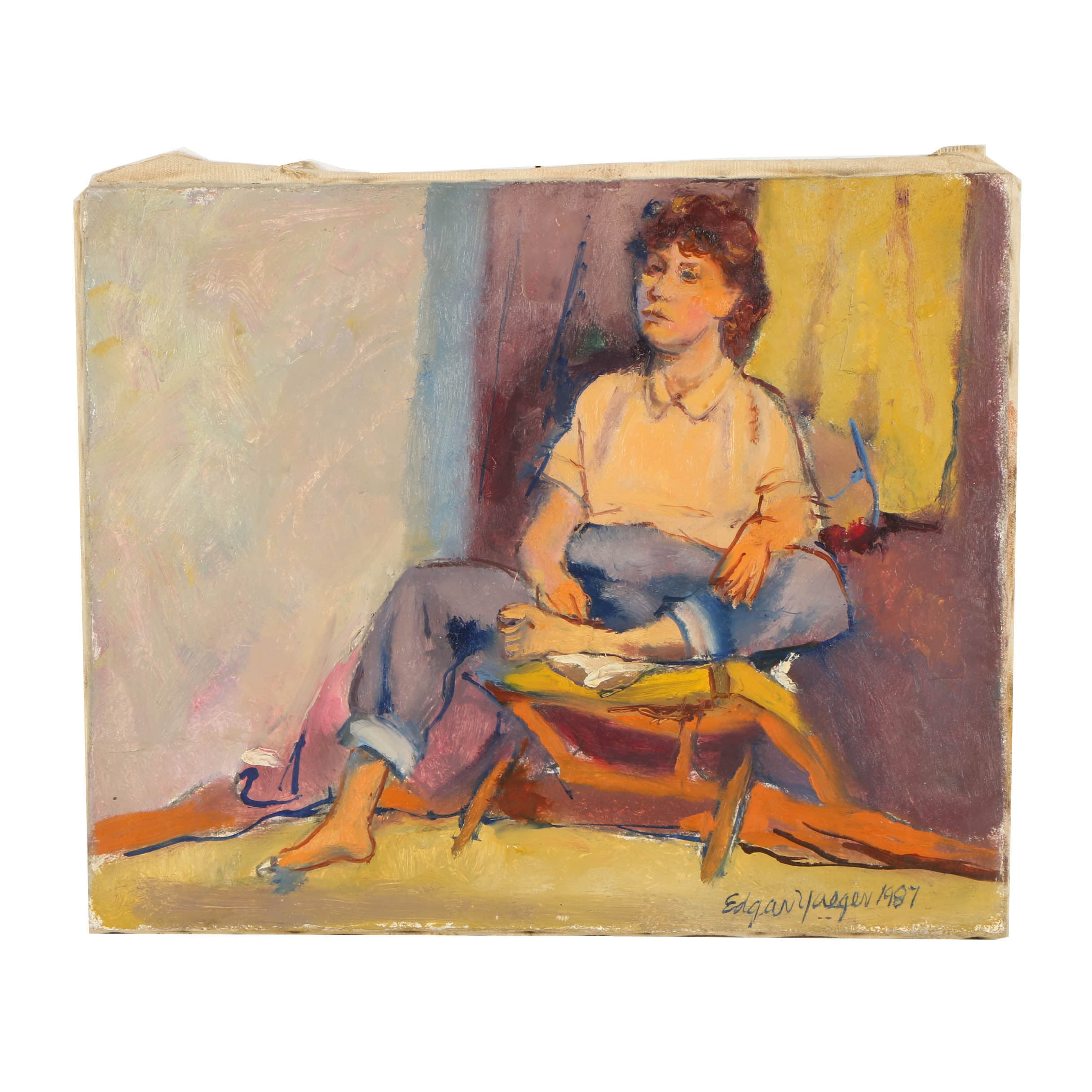 Edgar Yaeger Oil Painting on Canvas of a Figure Study