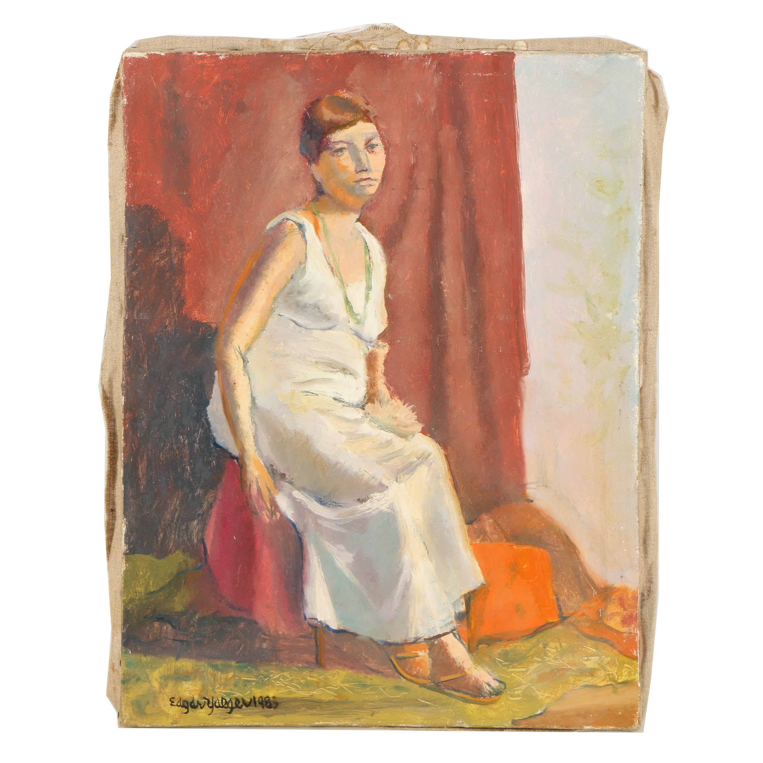 Edgar Yaeger Oil Painting on Canvas of a Woman in a White Dress
