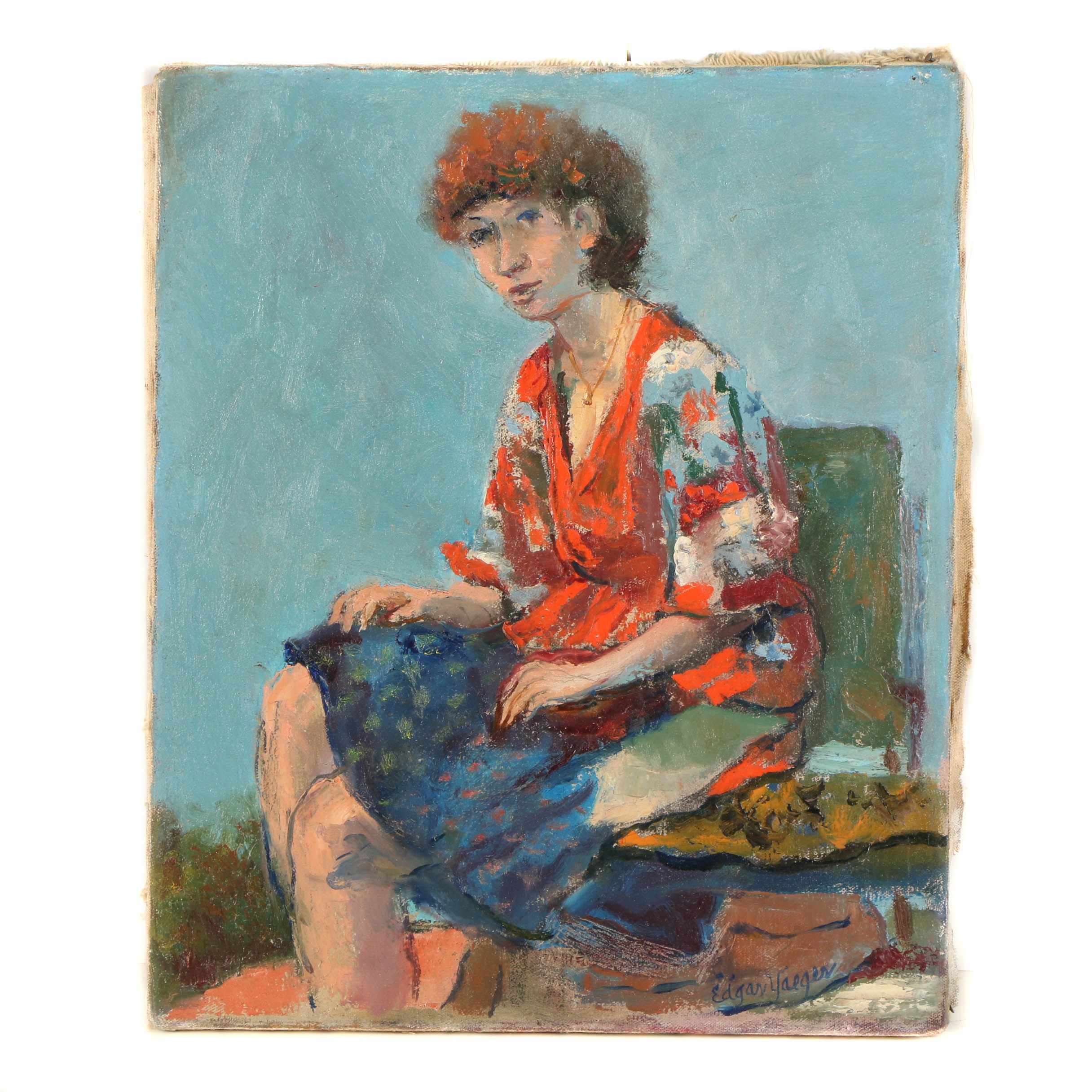 Edgar Yaeger Oil Painting on Canvas of a Woman in a Floral Dress