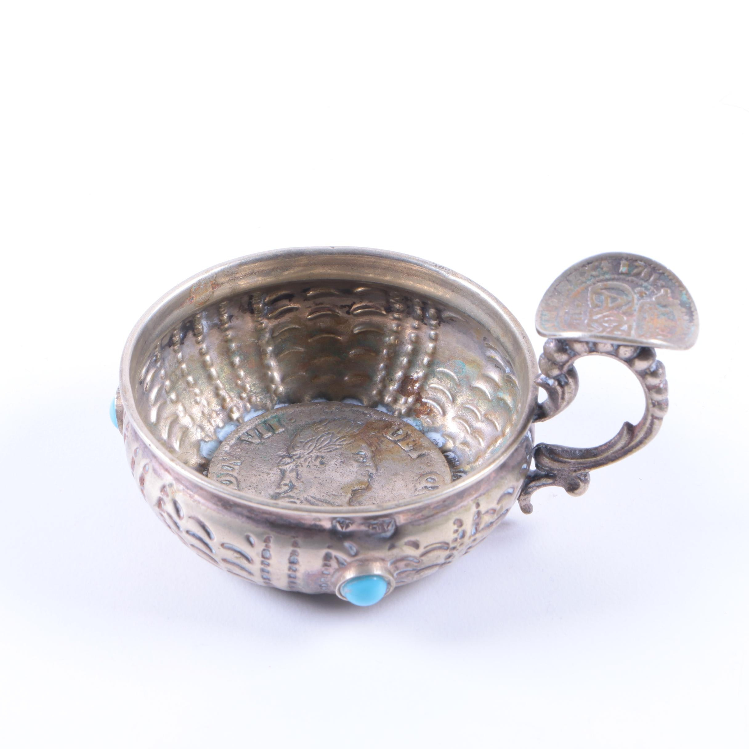Silver-Plated 1808 Spanish Colonial Coin Tastevin with Blue Glass Cabochons