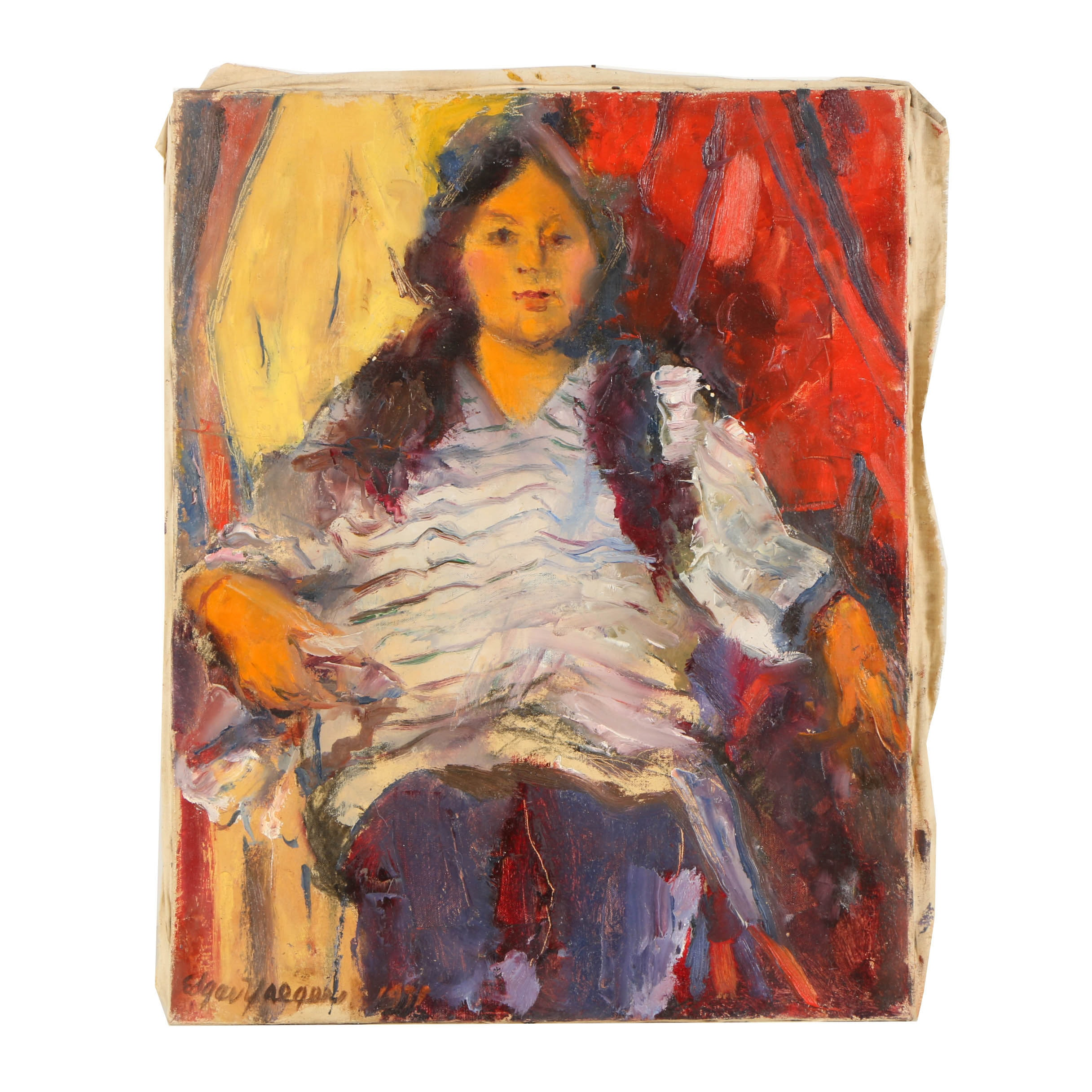 Edgar Yaeger Oil Painting on Canvas Portrait of Brunette Woman