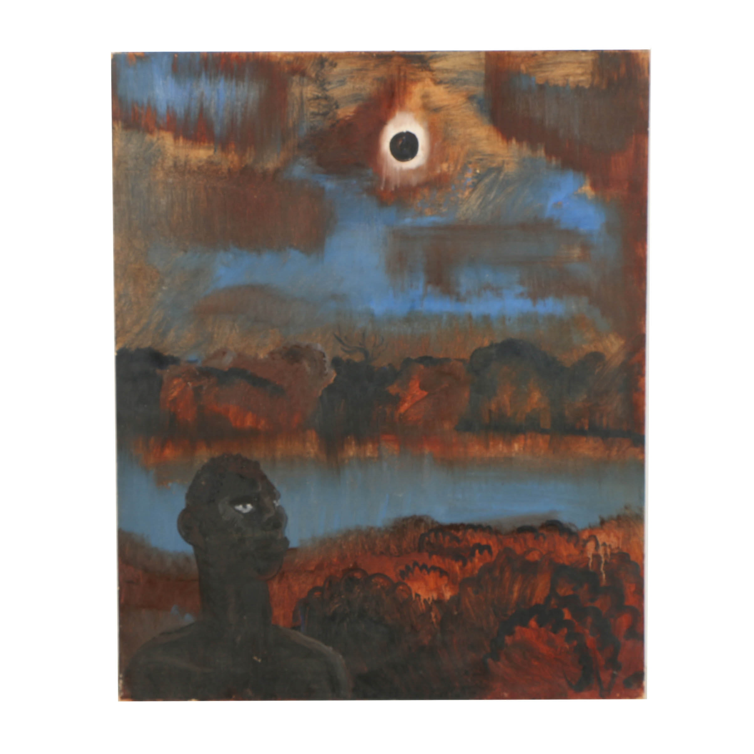 Oil Painting on Canvas Board of Figural Landscape