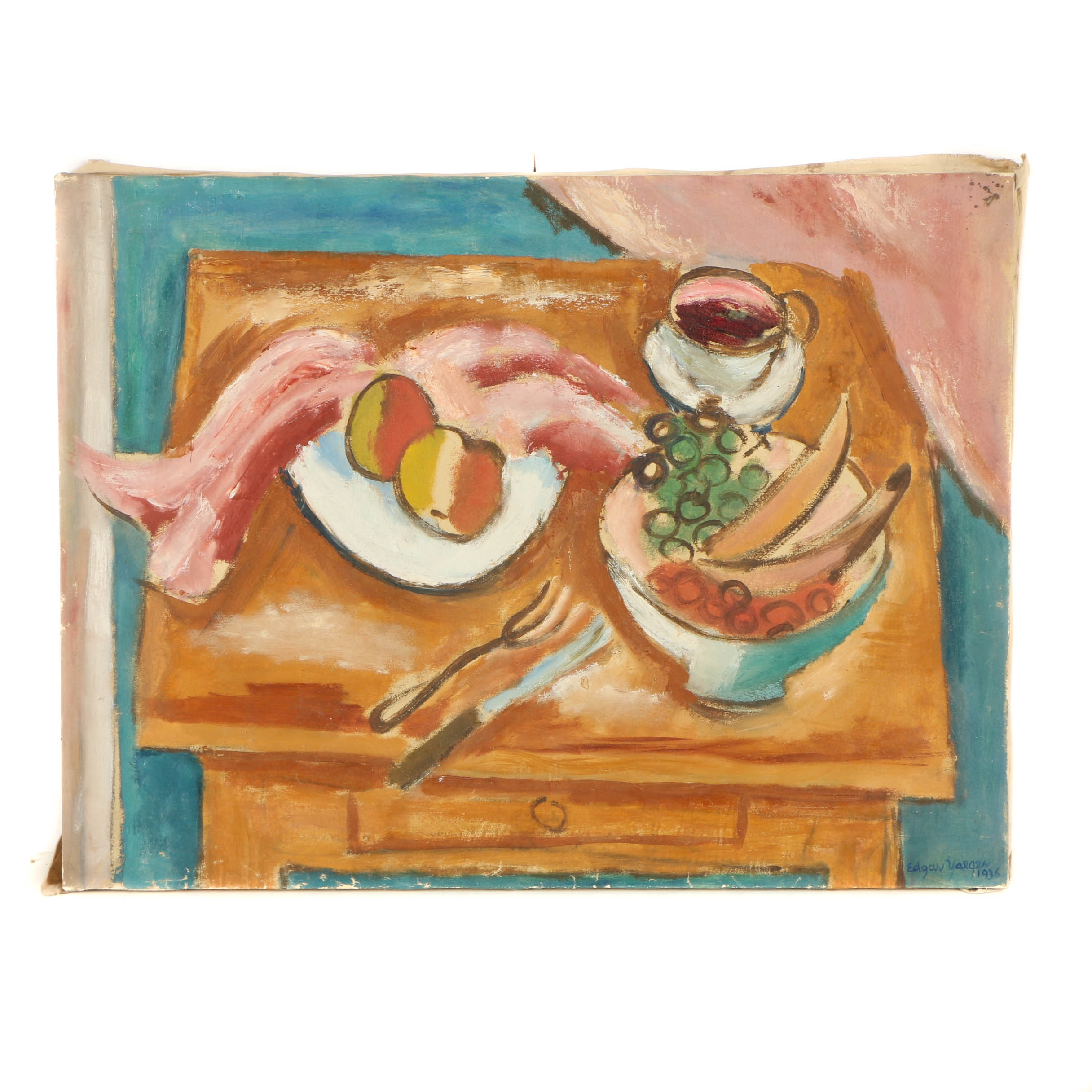 Edgar Yaeger Oil Painting on Canvas of a Still-Life
