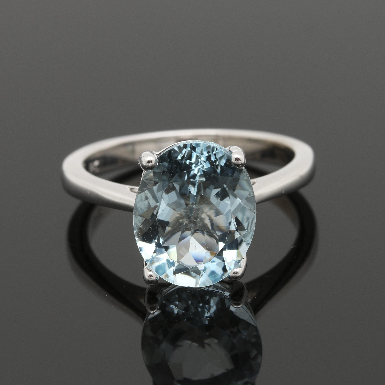 14K White Gold 2.69 CT Aquamarine Solitaire Ring