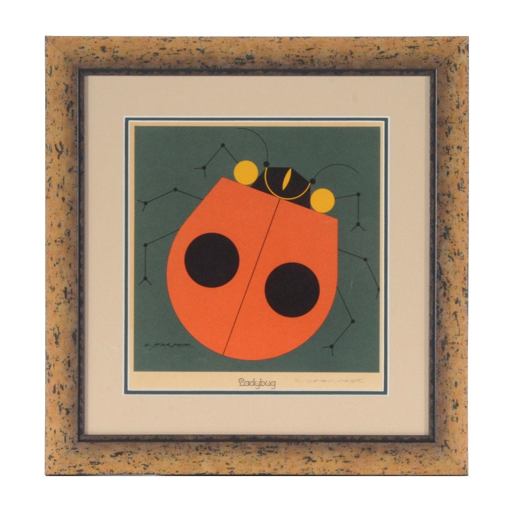 "Charley Harper Signed Lithograph ""Ladybug"""