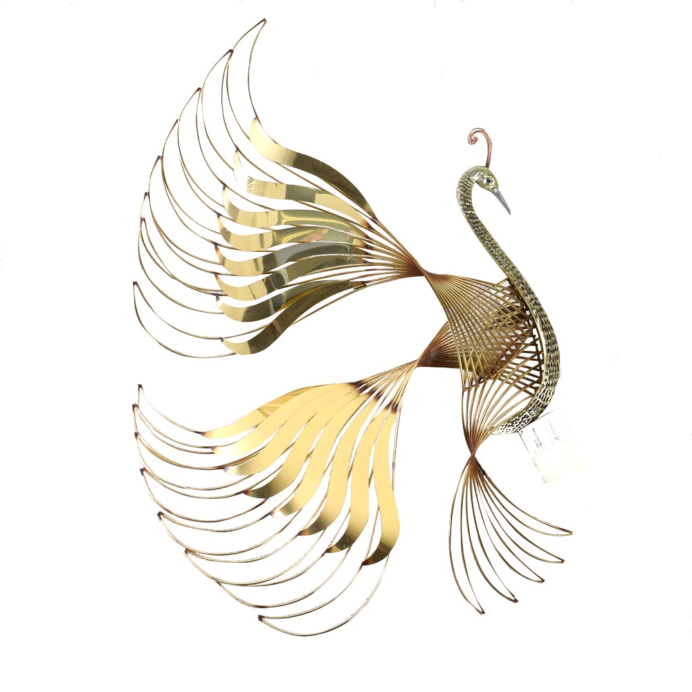 "Brass ""Bird of Paradise"" Wall Hanging"
