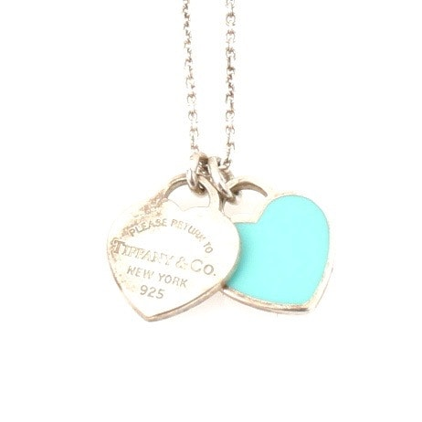 Tiffany & Co. Sterling Silver Enamel Heart Pendant Necklace