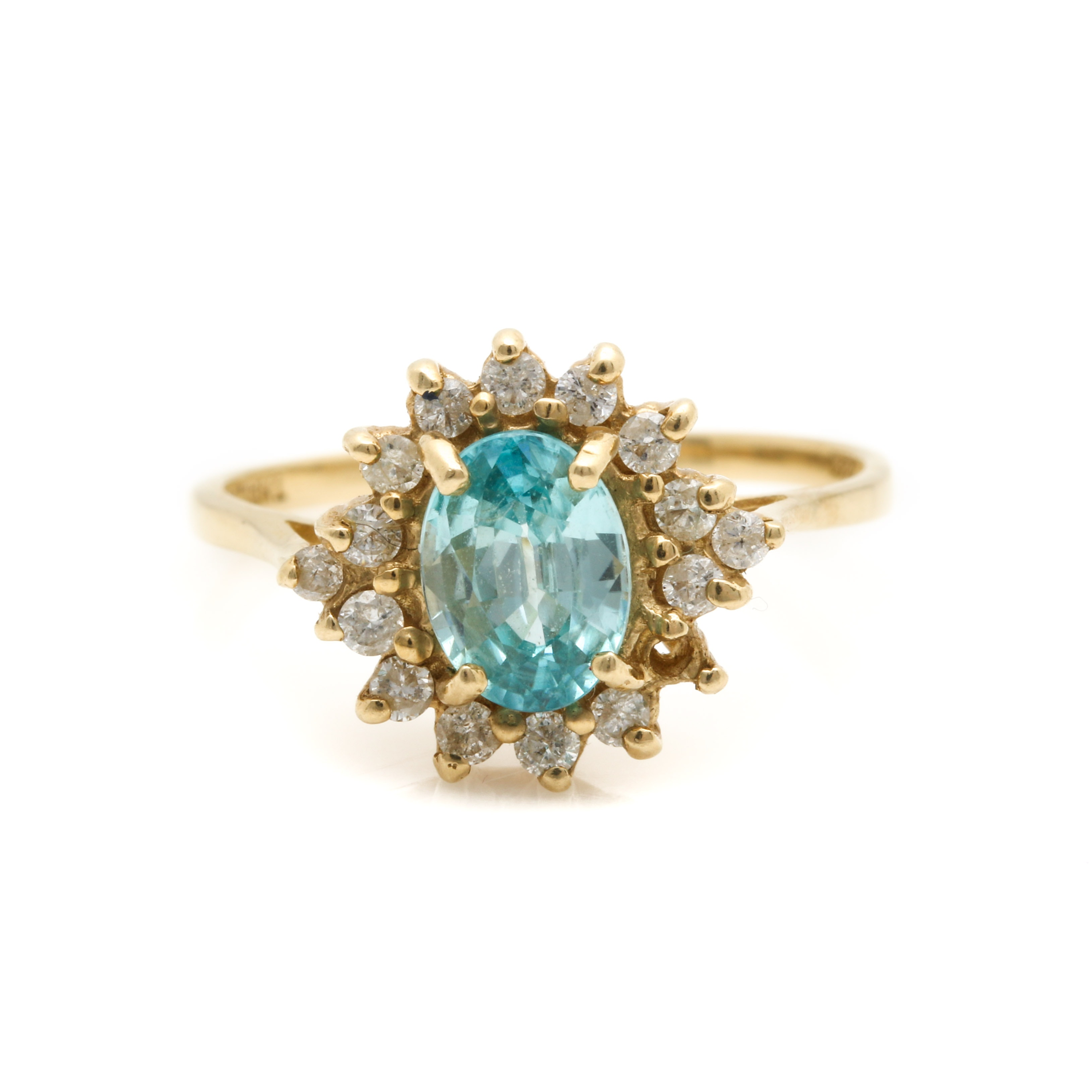 14K Yellow Gold Blue Topaz and Diamond Halo Ring
