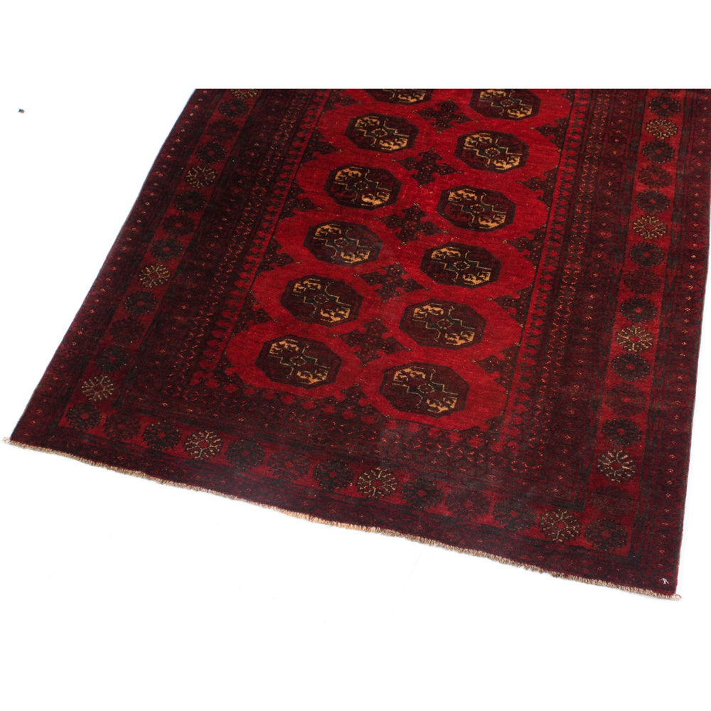 Semi-Antique Hand-Knotted Afghani Turkoman Rug