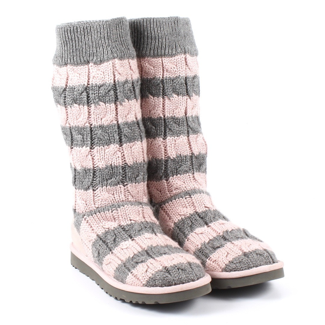 Women Ugg Australia Pink and Grey Knit Boots