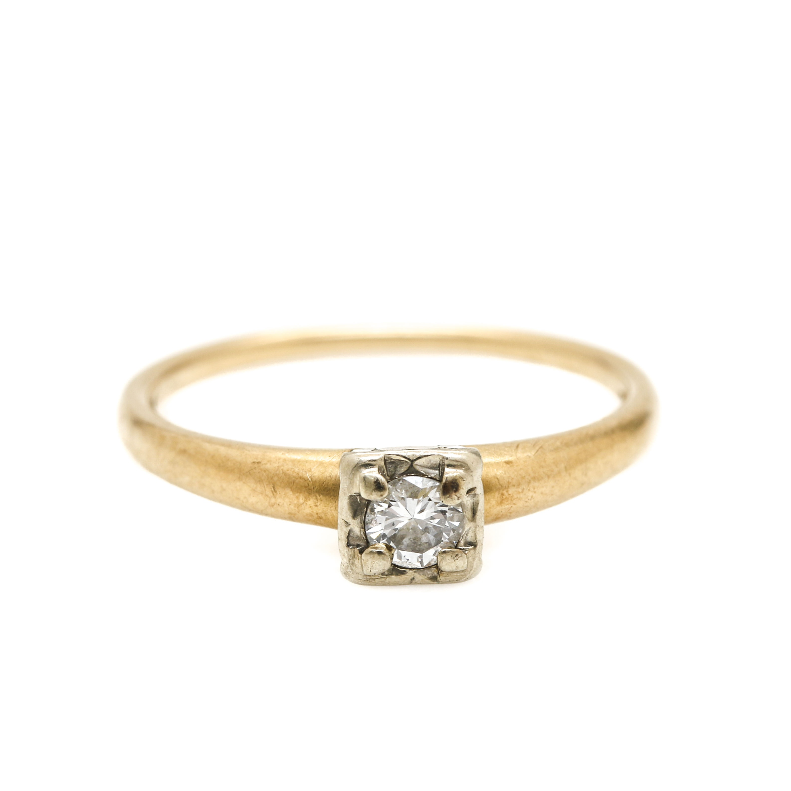 18K White Gold and 14K Yellow Gold Diamond Solitaire Ring