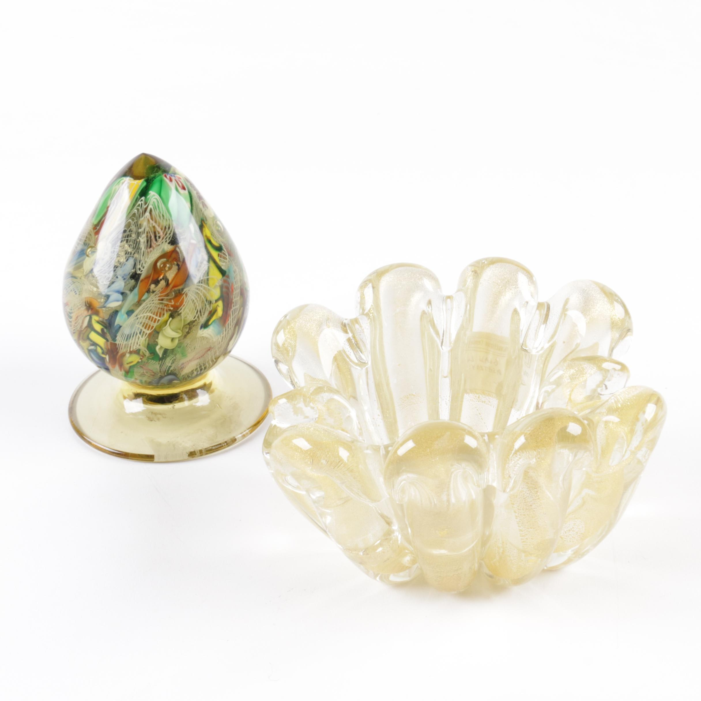 Mouth-Blown Aventurine Ash Receiver with Art Glass Paperweight
