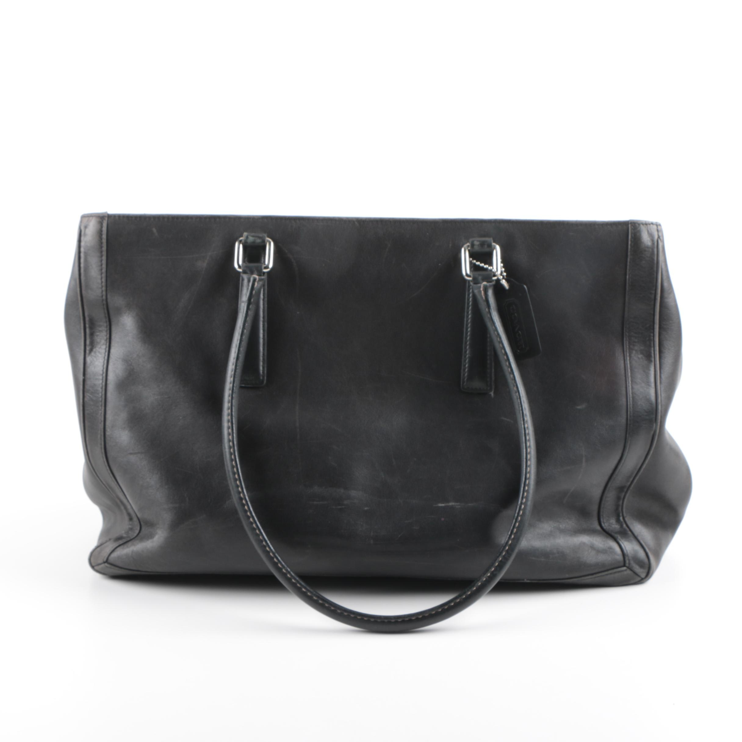 Vintage Coach Black Leather Carryall Bag