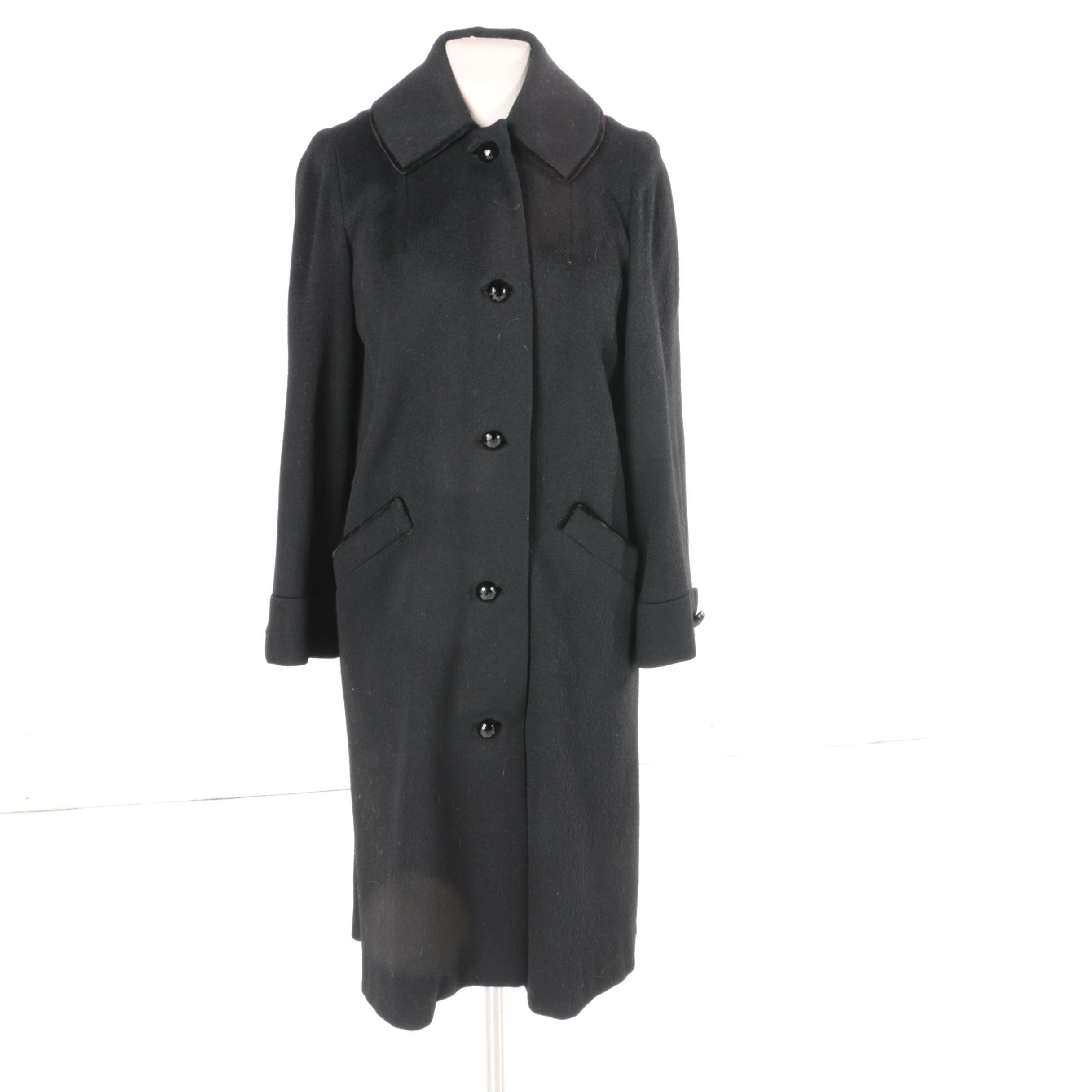 Women's Vintage Harry Cooper Black Wool Overcoat