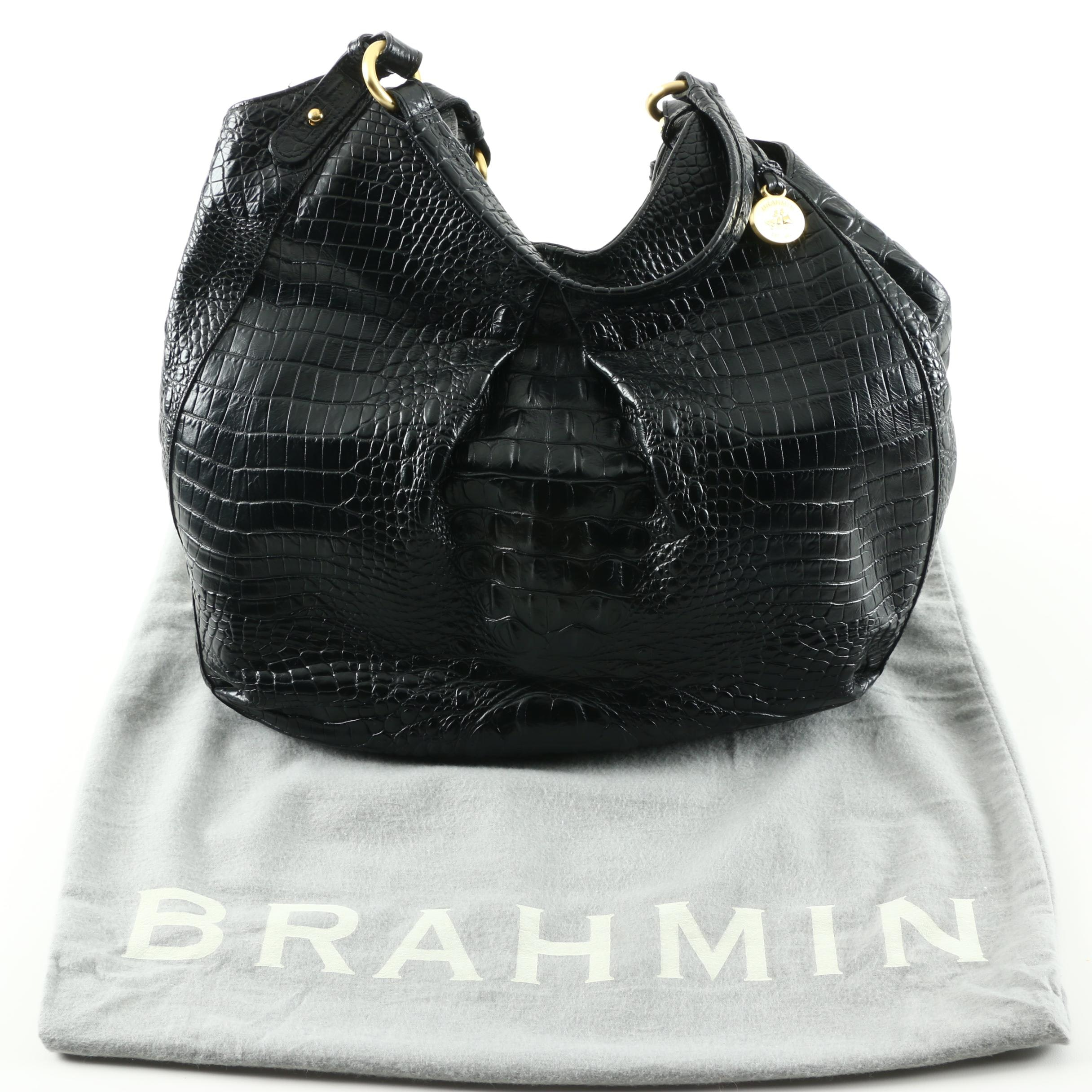 Brahmin Embossed Black Leather Shoulder Bag