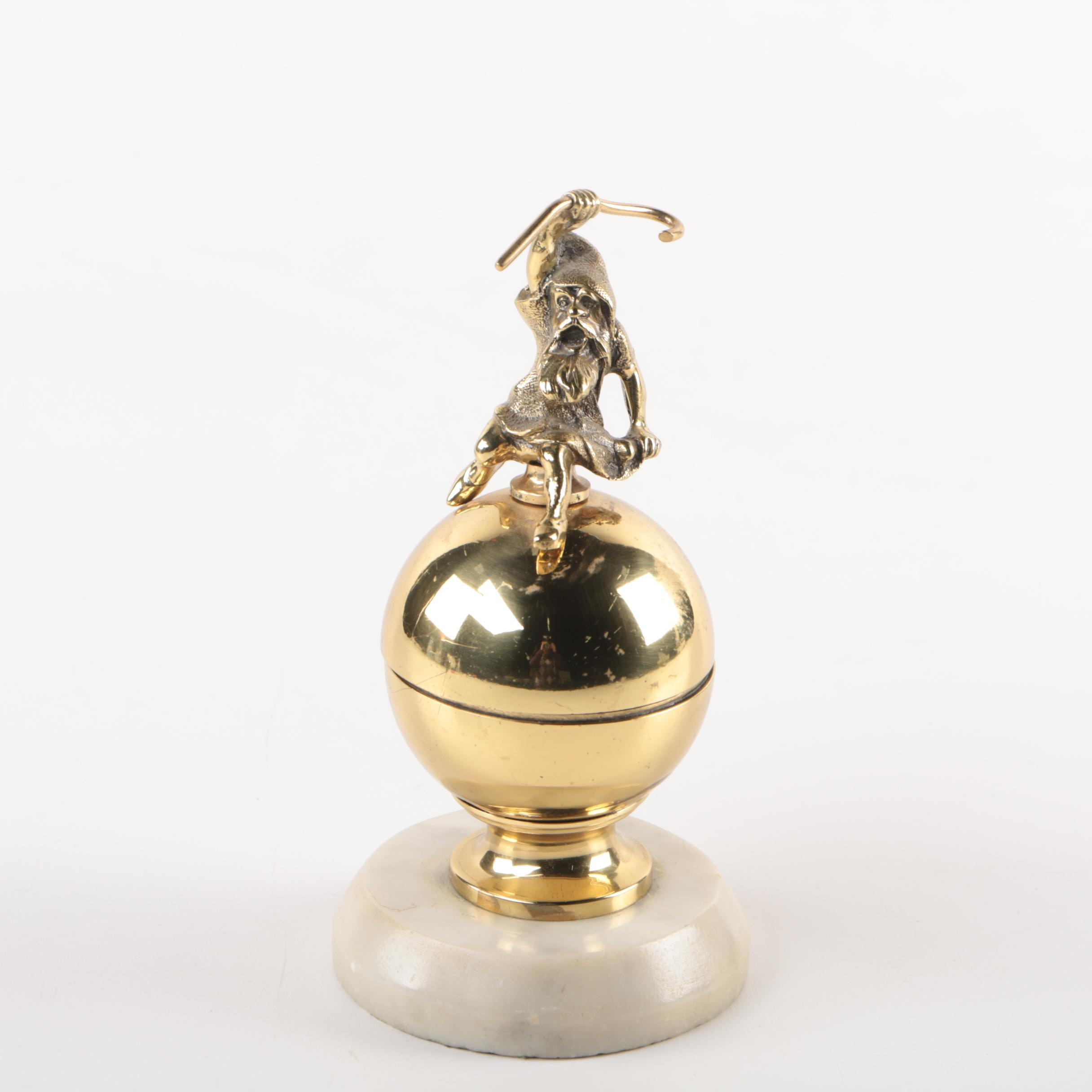 Brass and Marble Gnome Inkwell