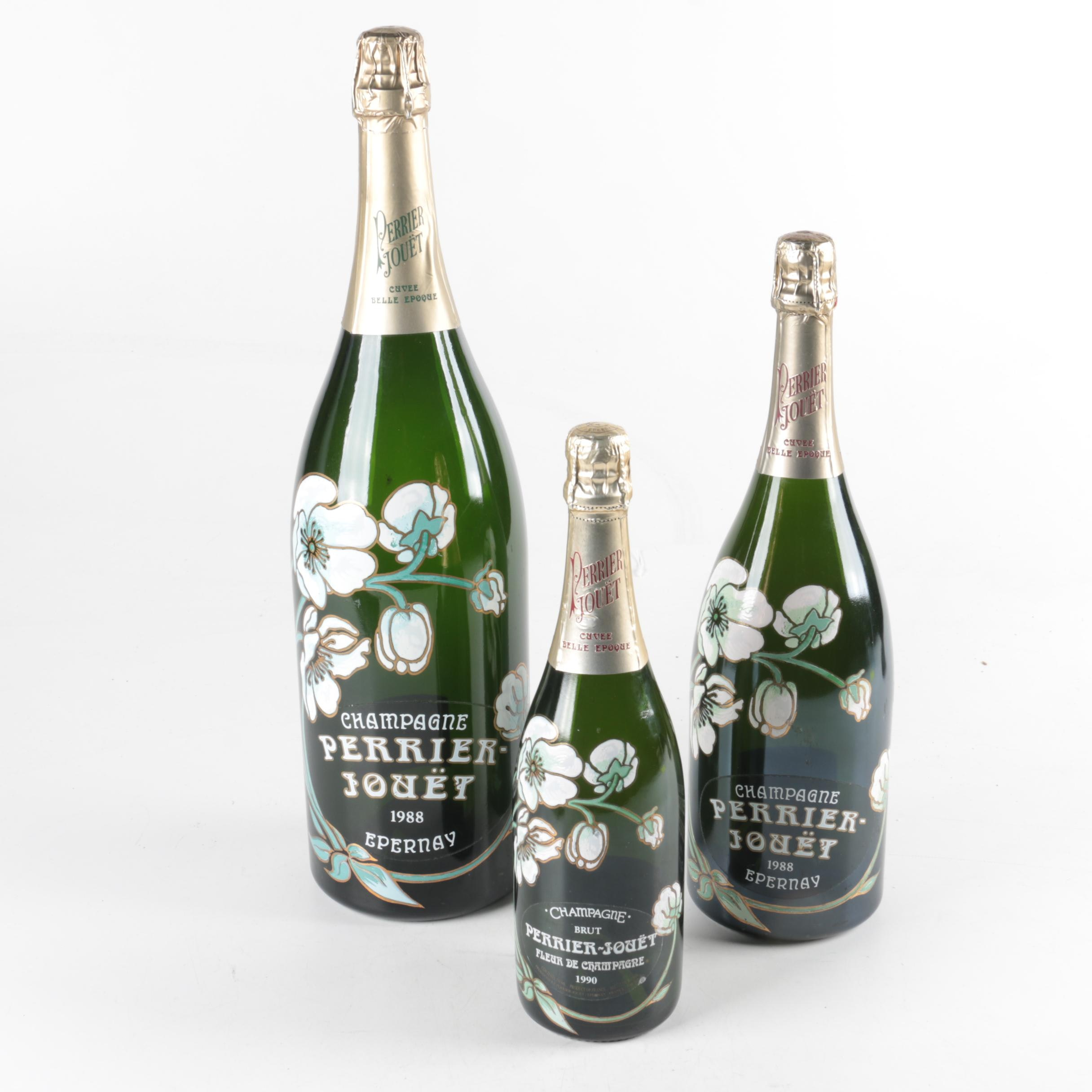 """""""Perrier Jouet"""" French Champagne Bottle Show Pieces"""