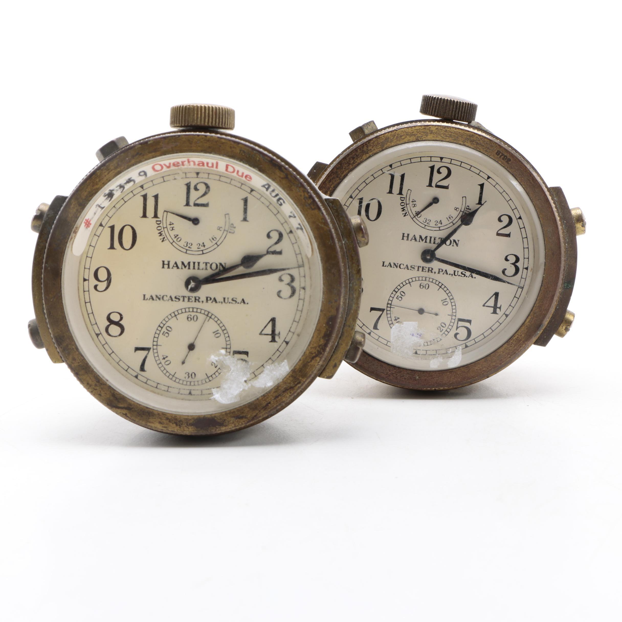 Pair of Hamilton Lancaster WW II Era Ship Chronometers