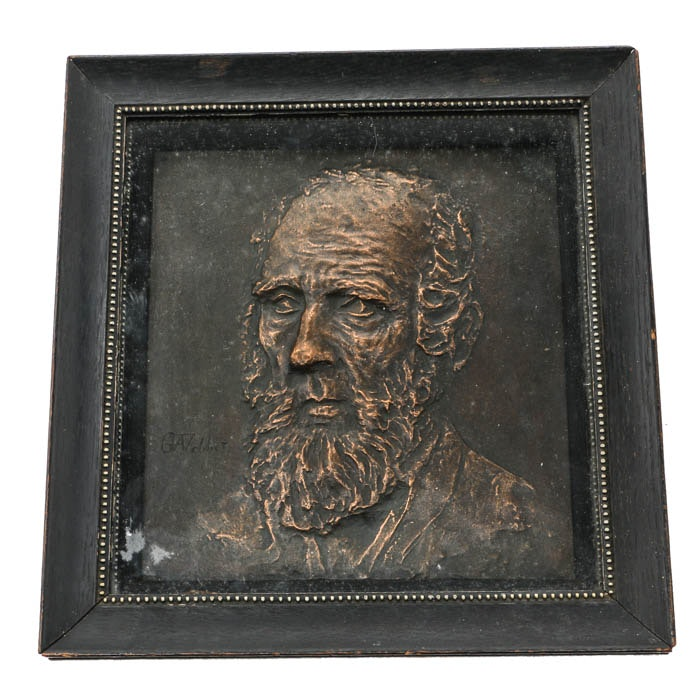 """Bronze Plaque Depicting Profile Of Bearded Man, Signed """"G A Webber"""""""