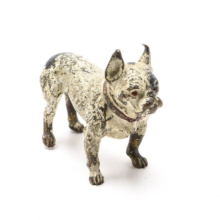 Antique Hand Painted Vienna Bronze French Bull Dog