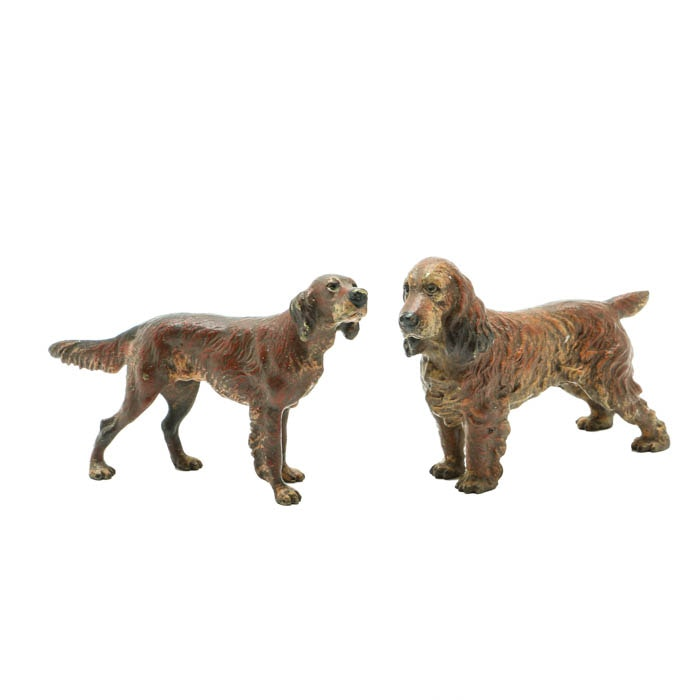 Pair of Antique Vienna Painted Bronze Dogs in Miniature