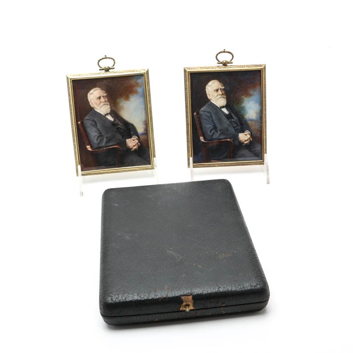 Two Hand Embellished Miniature Portraits of James Norris Gamble Dated 1925