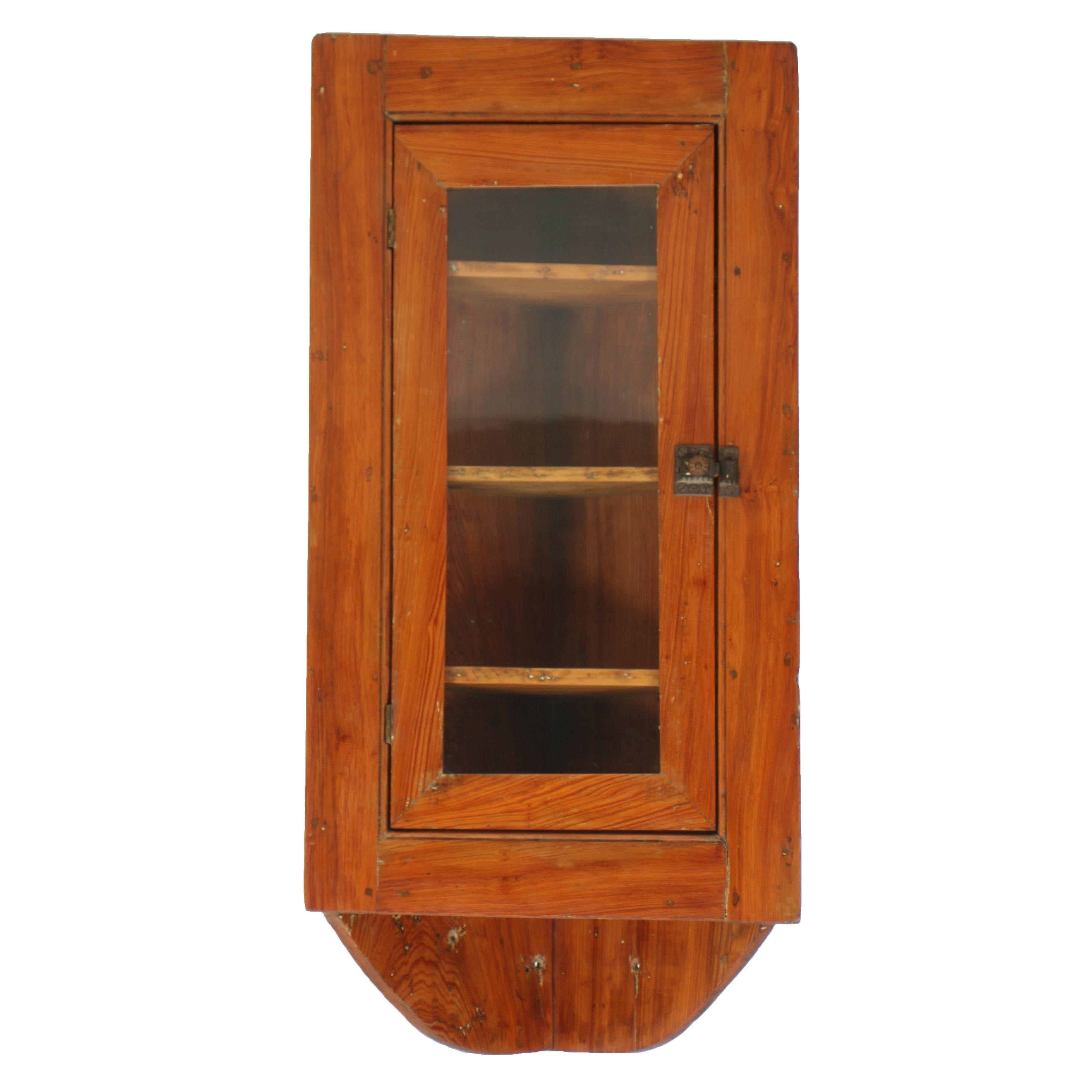 Antique Diminutive Hanging Corner Cupboard with Glazed Door