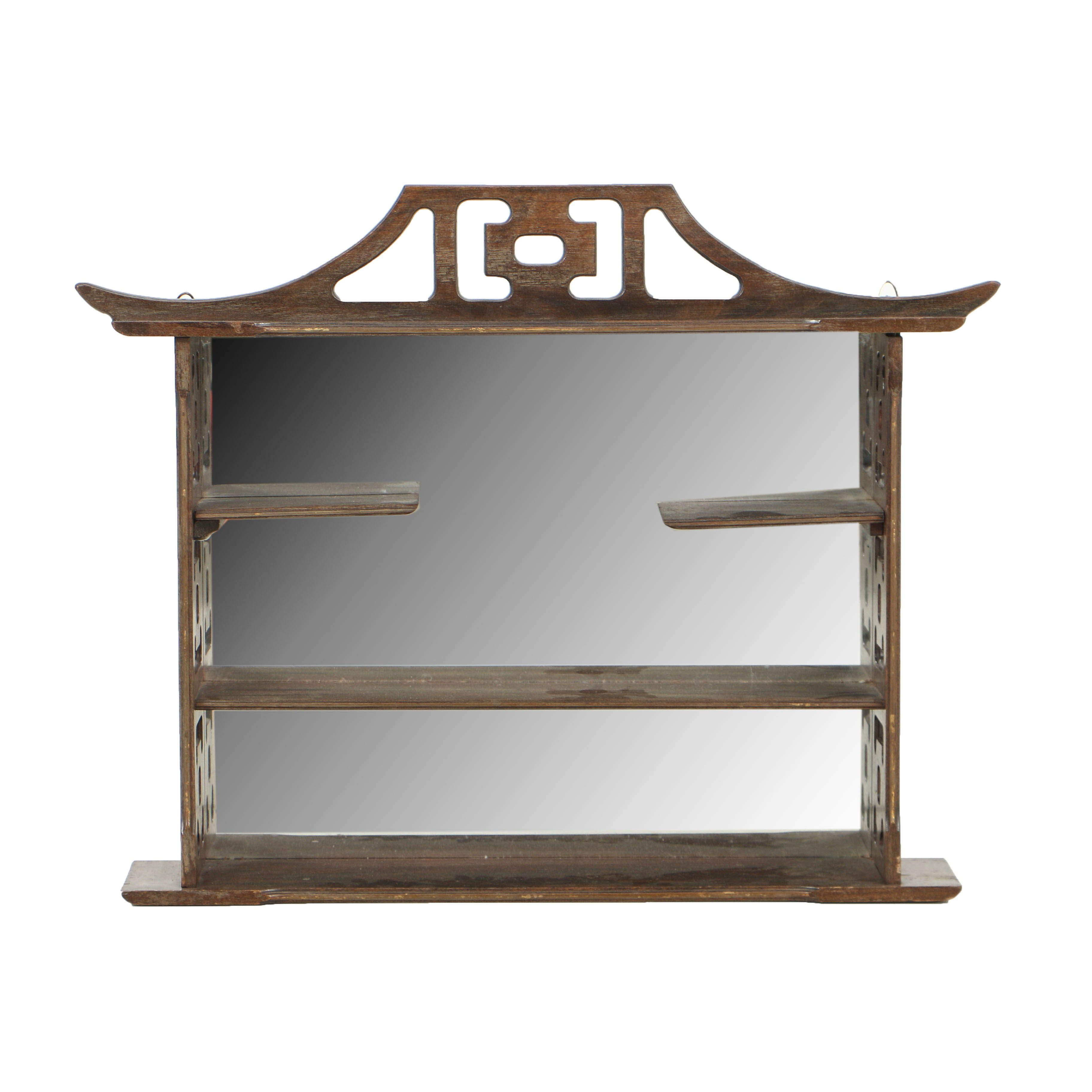 Vintage Asian-Inspired Hanging Curio Shelf with Mirrored Back