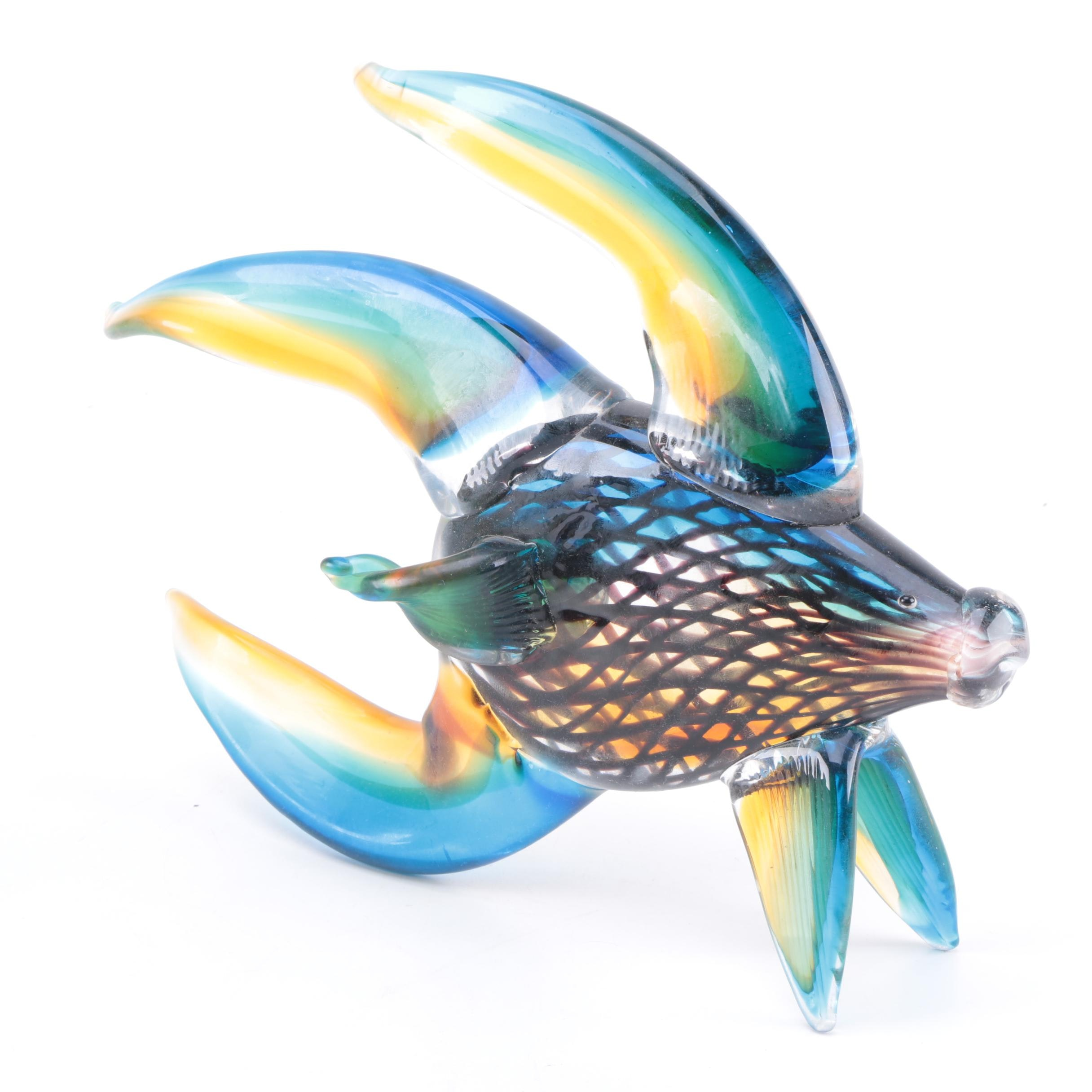 Art-Glass Fish with Long Flowing Blue and Yellow Fins