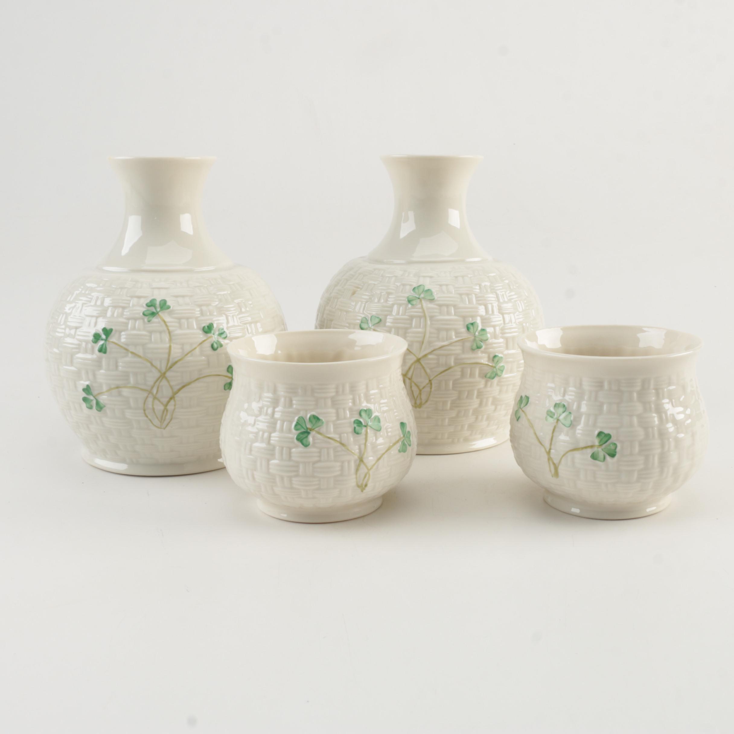Belleek Porcelain Bedside Carafes and Cups