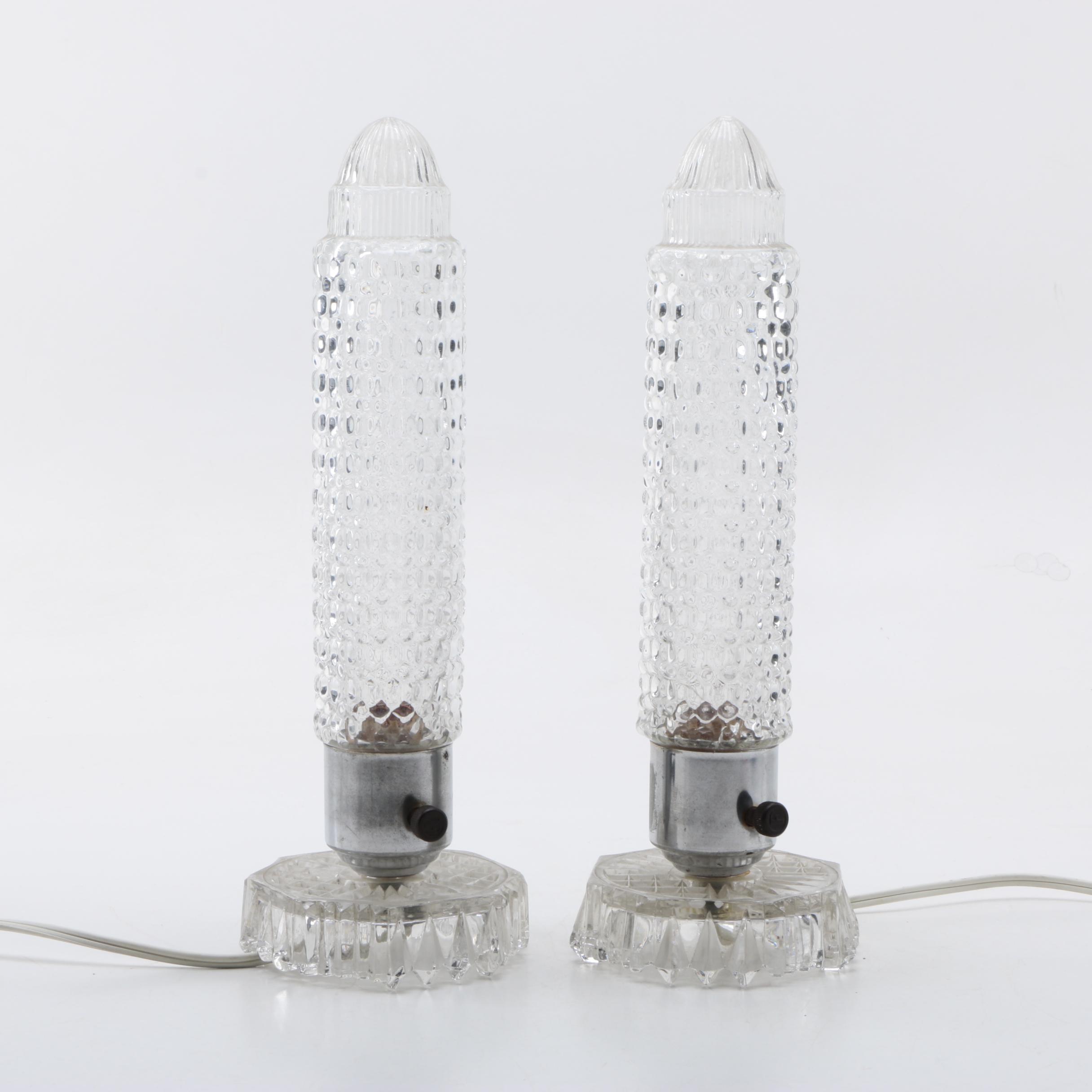 Art Deco Style Glass Boudoir Lamps