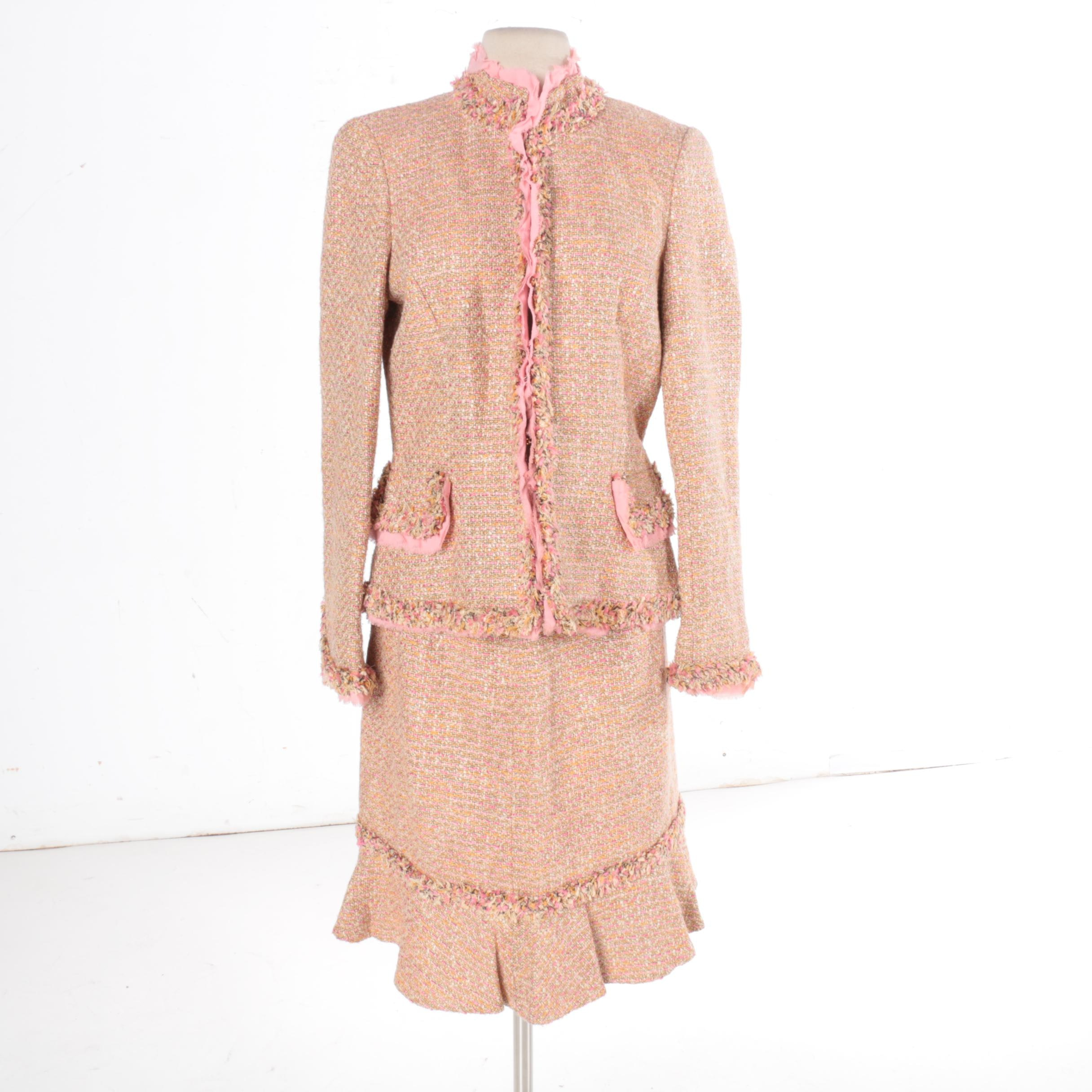 Dana Buchman Pink Tweed Skirt Suit