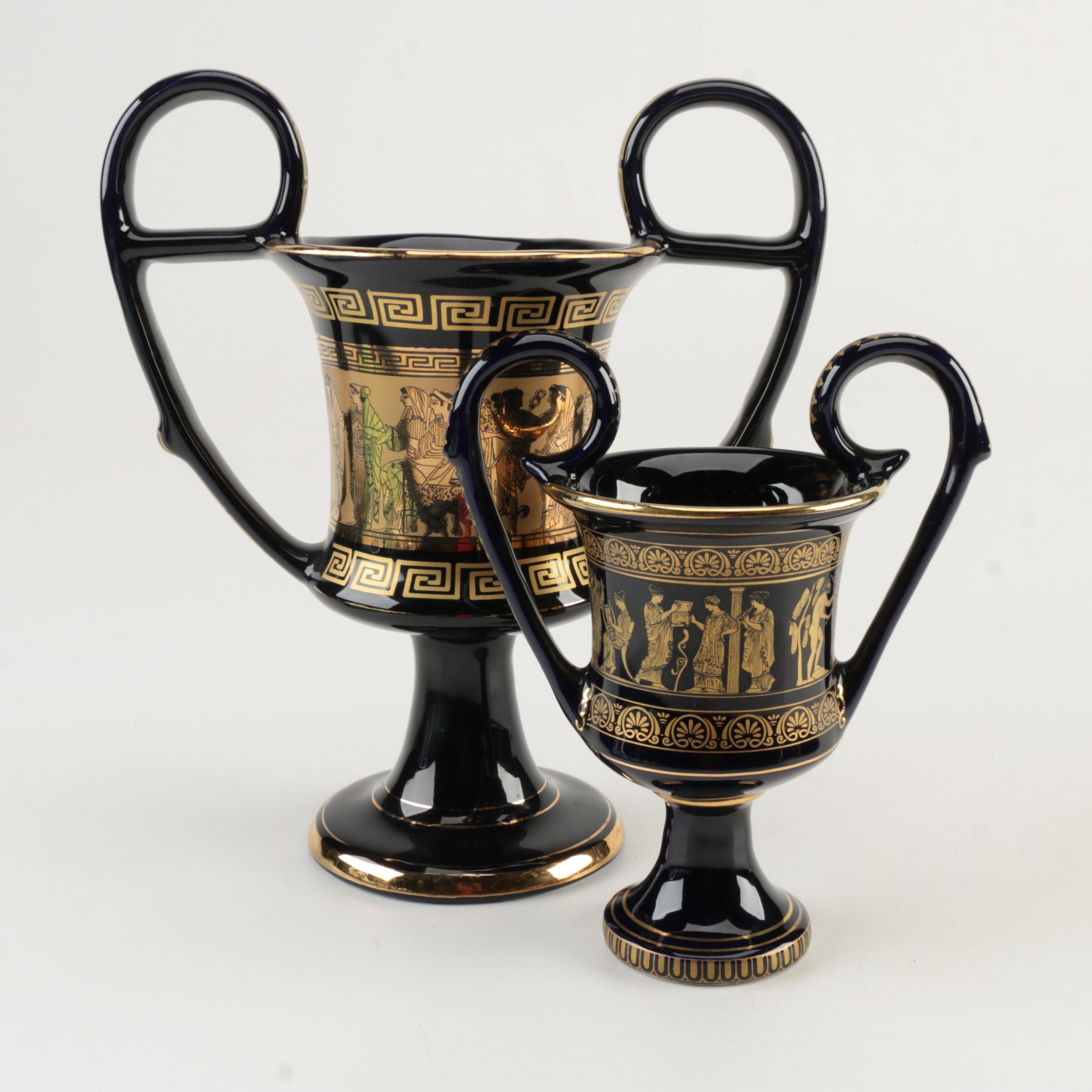 Handmade Greek Vases with 24K Gold Trim