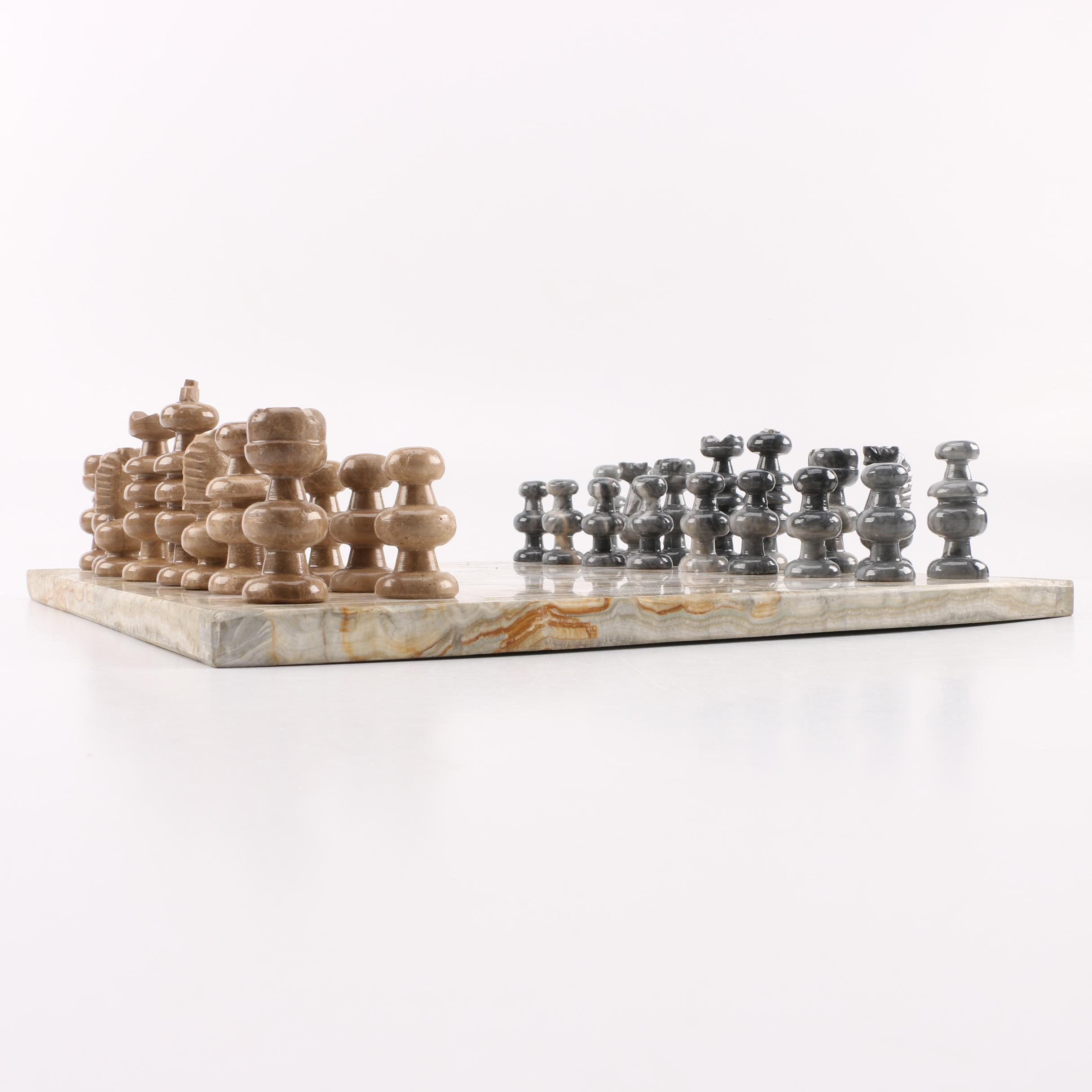 Marble and Calcite Chess Set