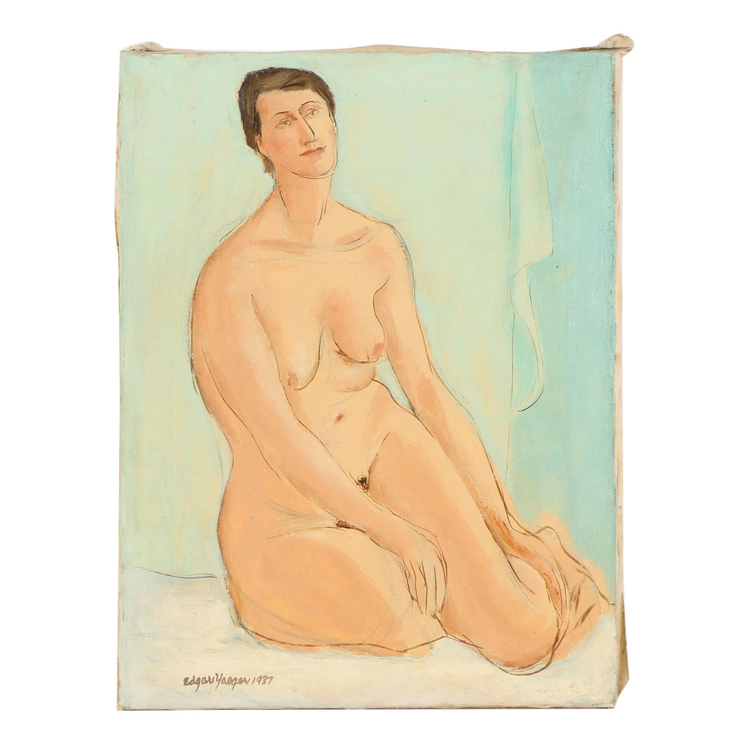 Edgar Yaeger Oil Painting on Canvas Portrait of Female Nude