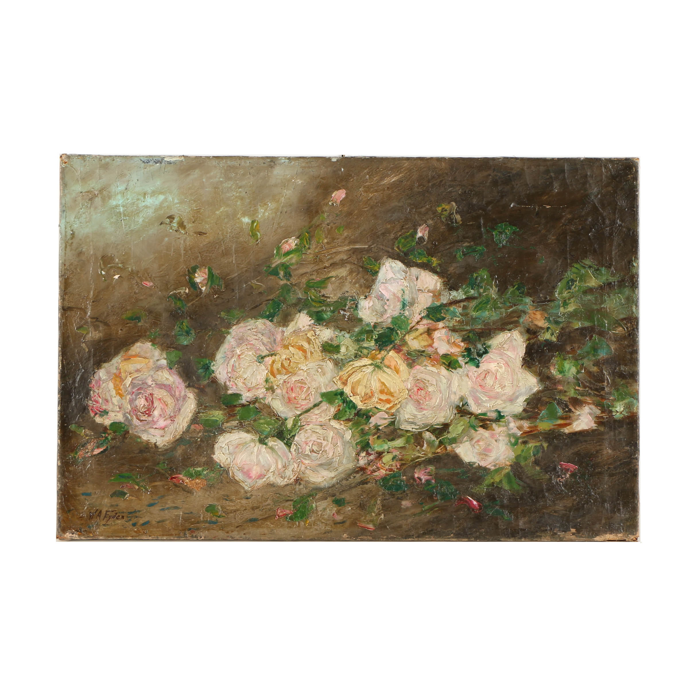 Walter A. Eyden Oil Painting on Canvas of Floral Still Life